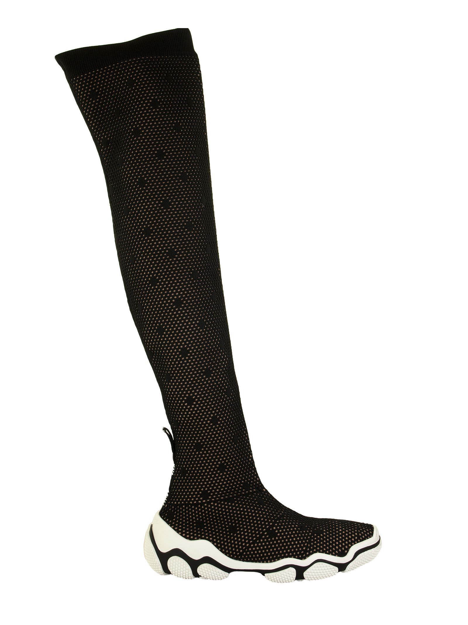 RED Valentino Black Knit Boot Sneakers
