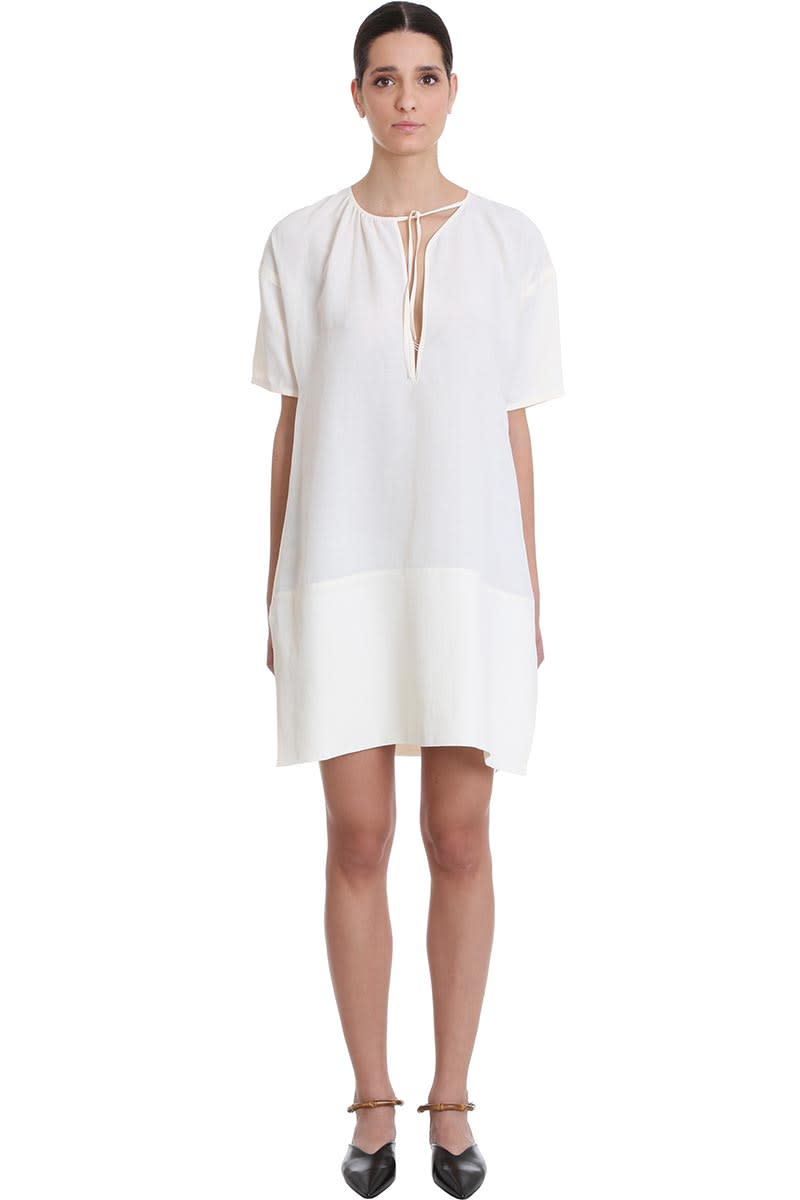 Buy Jil Sander Meredith Dress In White Viscose online, shop Jil Sander with free shipping