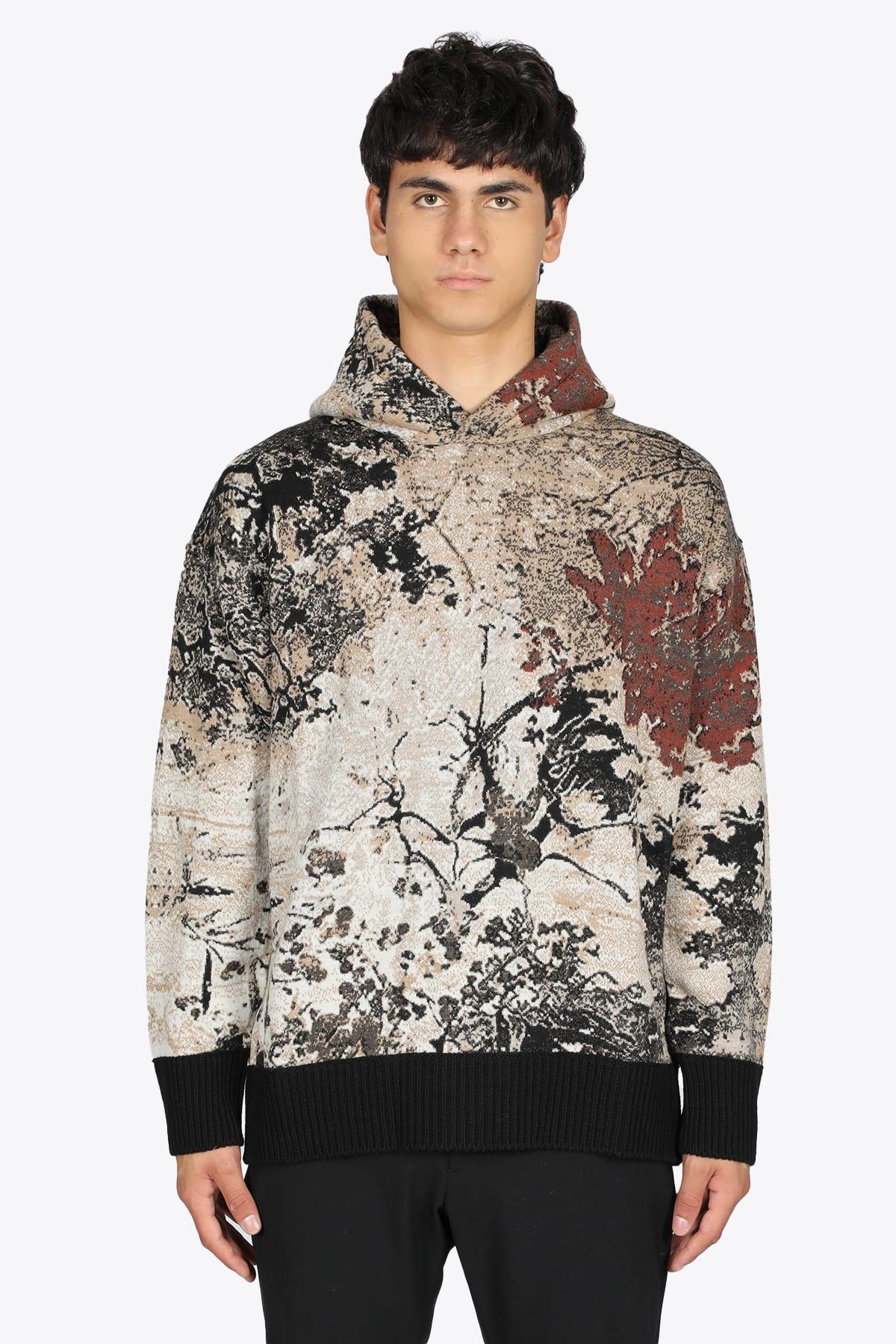 Multicolor Autumn Leaves Jacquard Wool Hooded Jumper