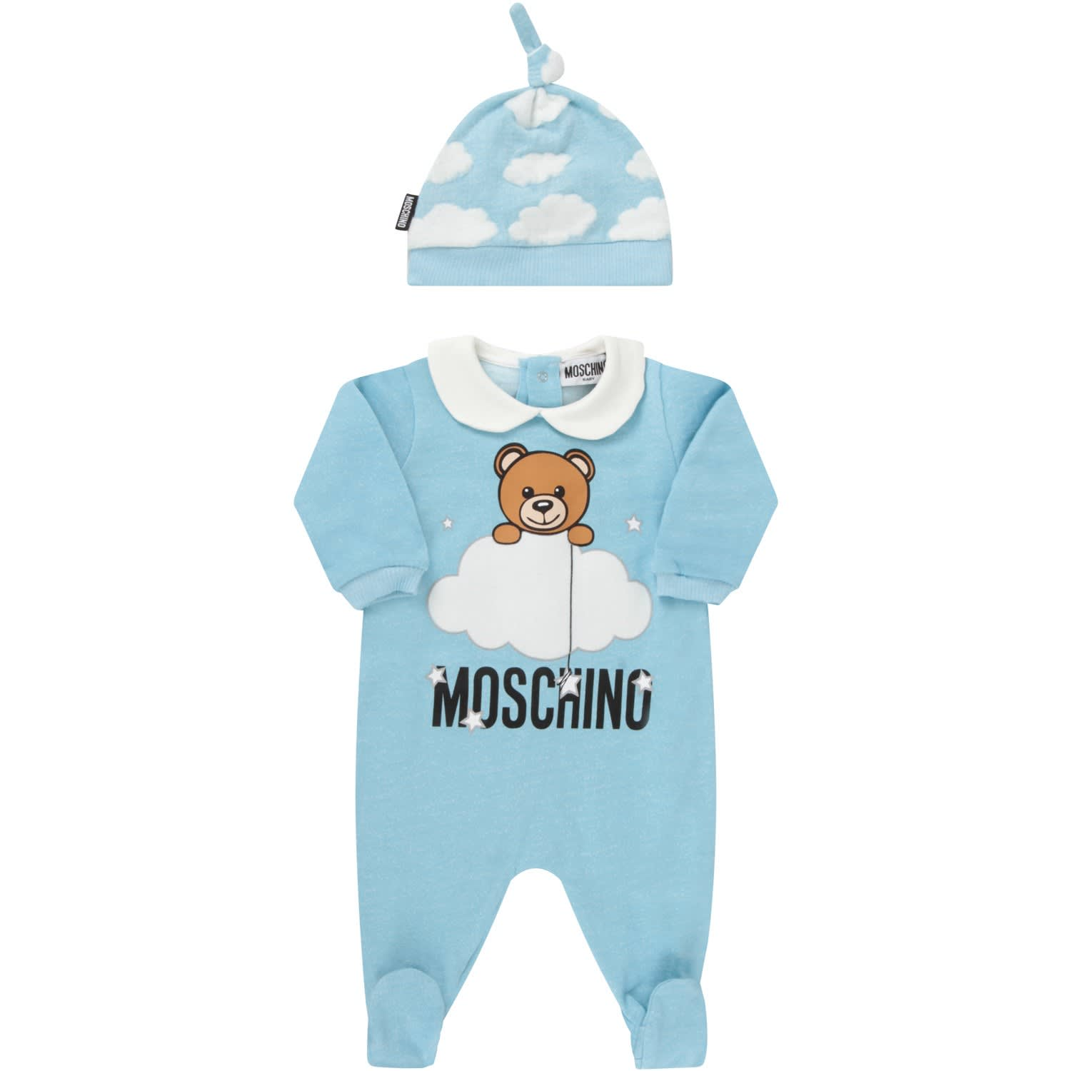 Moschino Cottons LITHT BLUE AND GREY SUIT WITH TEDDY BEAR AND CLOUDS FOR BABYKID