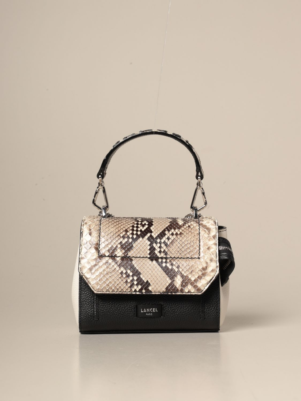 Lancel Mini Bag Ninon Mini Lancel Bag In Grained Leather And Python Print Leather