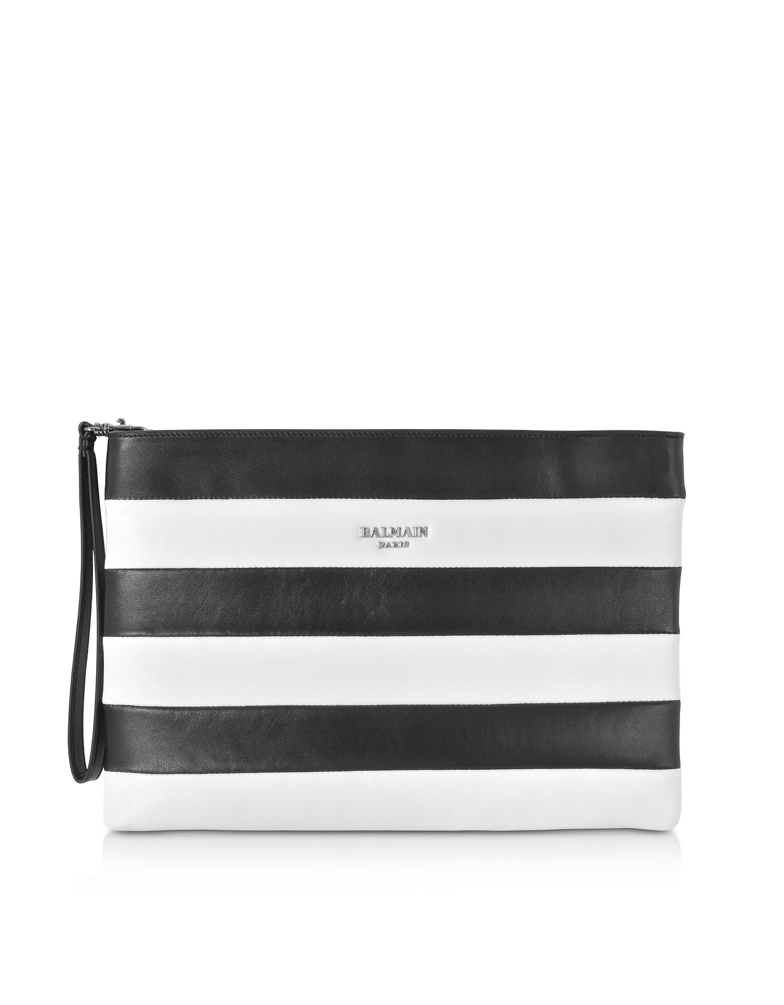 outlet big discount half off Best price on the market at italist | Balmain Balmain Mariniere Stripe  Leather Clutch