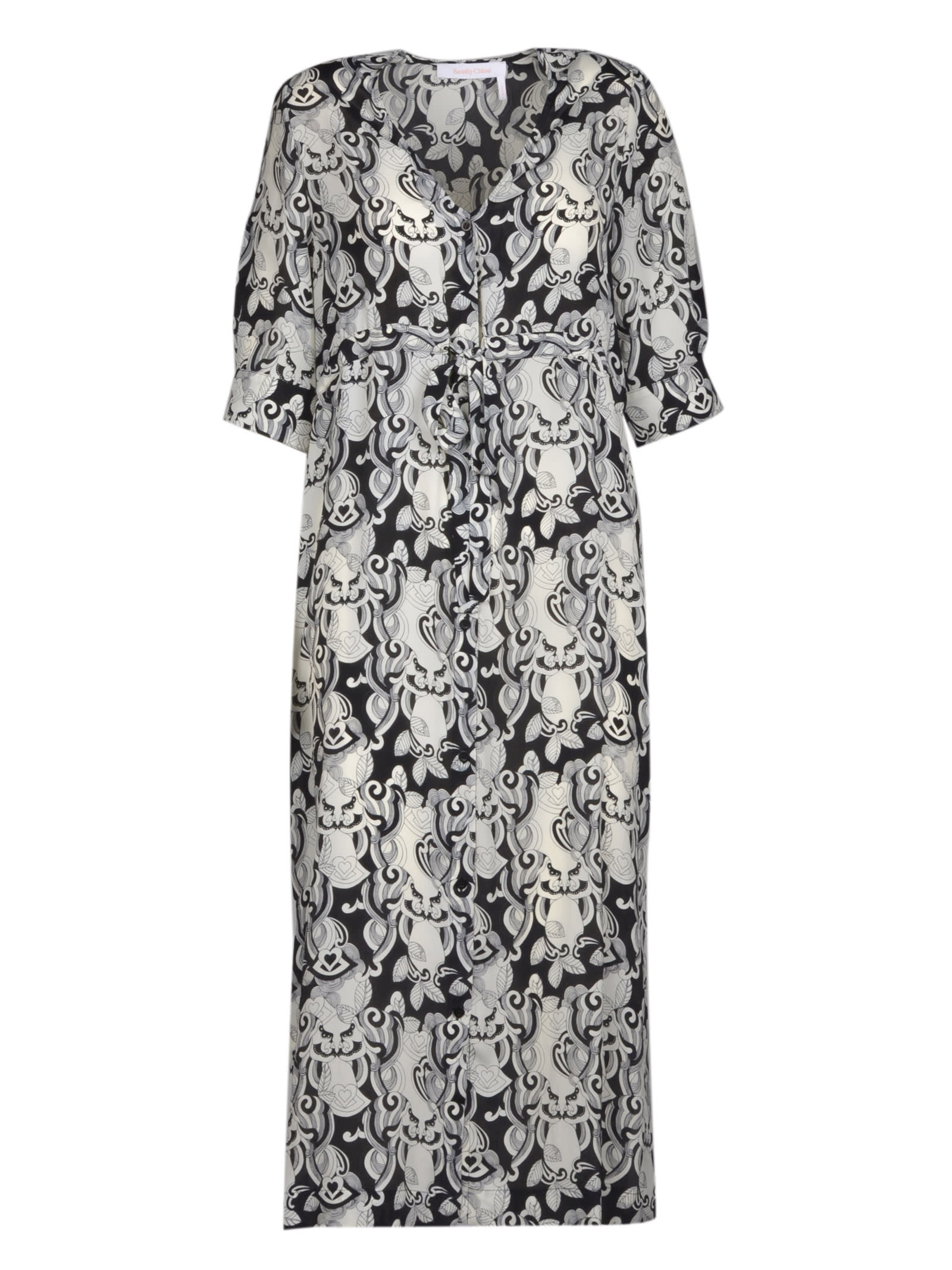 Buy See by Chloé Graphic Print Shirt Dress online, shop See by Chloé with free shipping