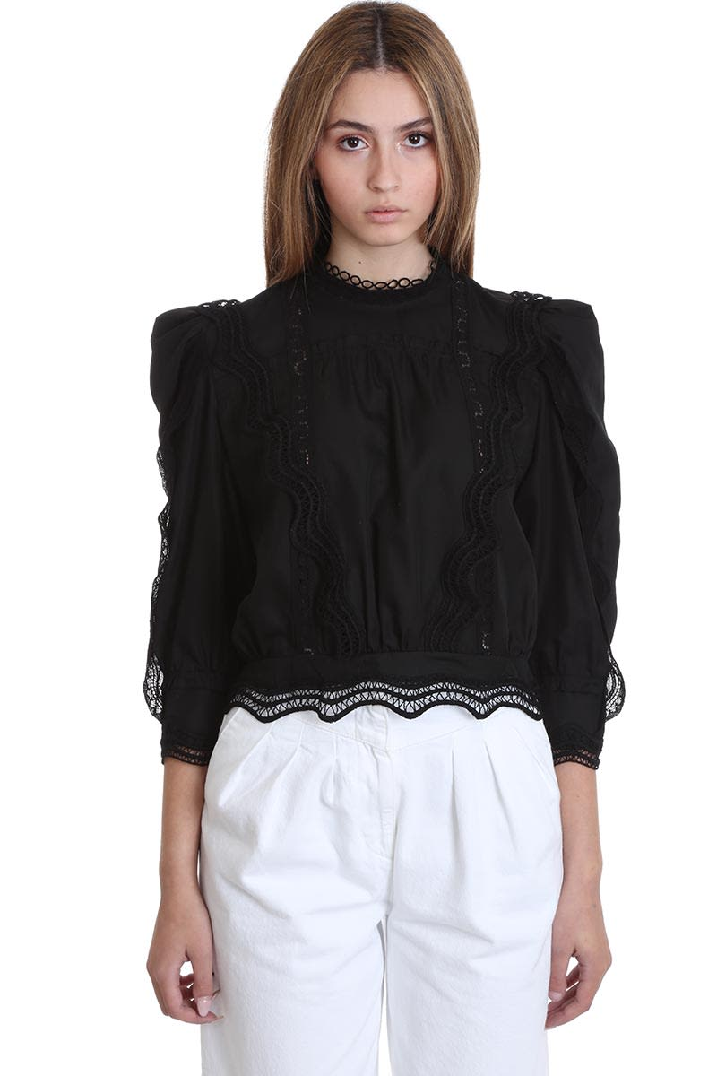 IRO Avil Blouse In Black Cotton
