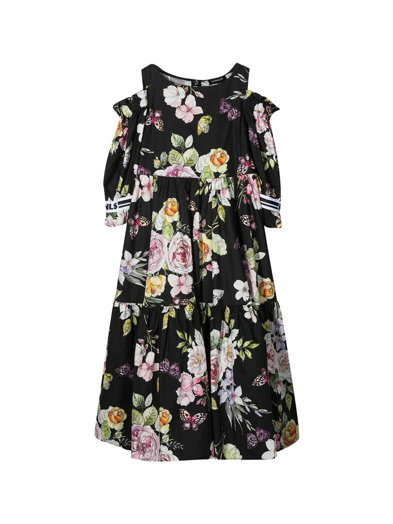 Buy Monnalisa Black Dress With Flower Print online, shop Monnalisa with free shipping