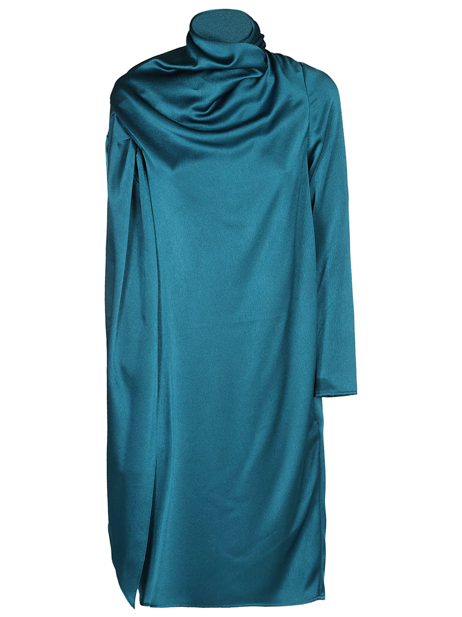 Gianluca Capannolo Teal Draped Neckline Dress
