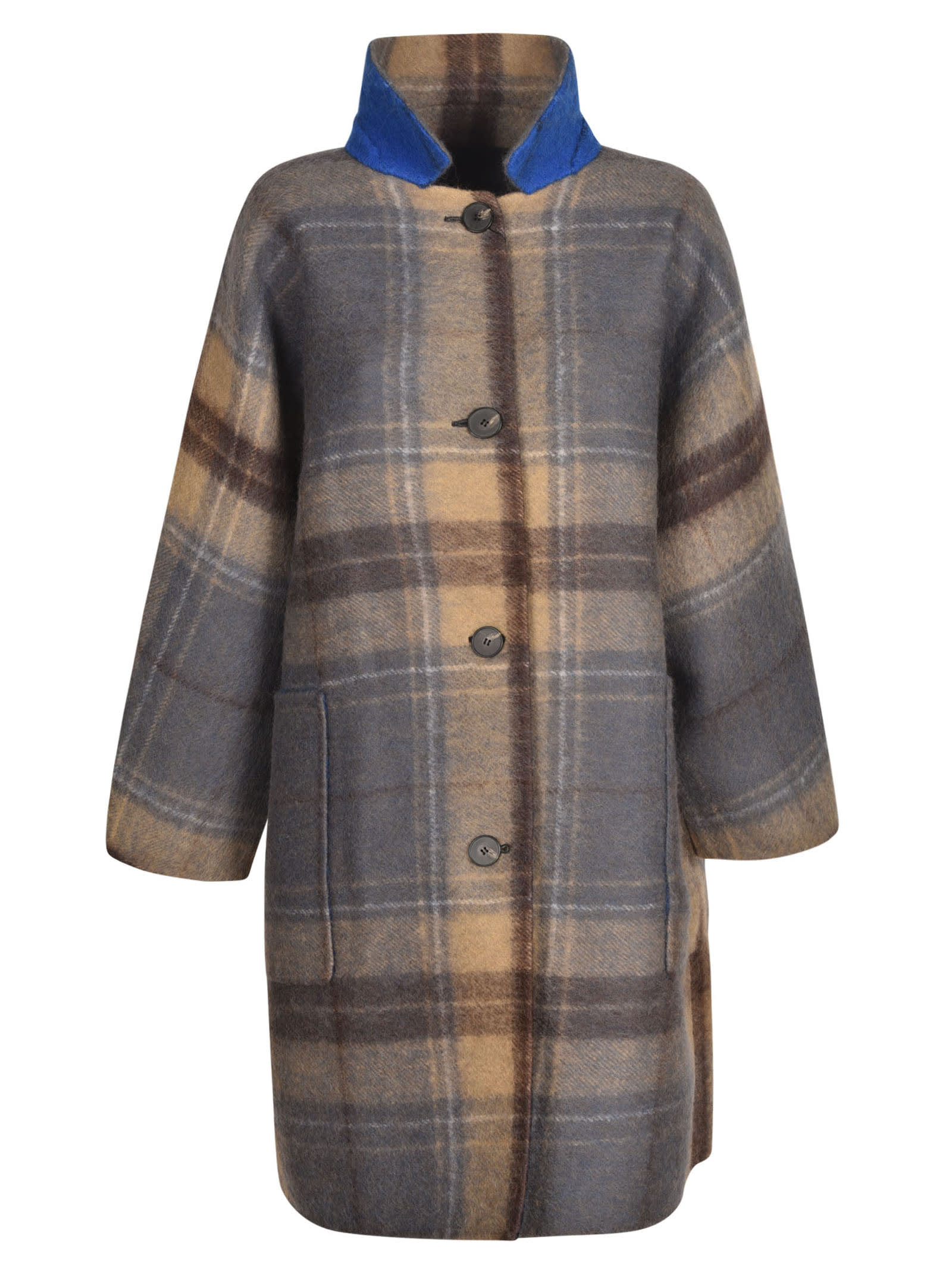 Sofie D'hoore Check Buttoned Coat In Grey