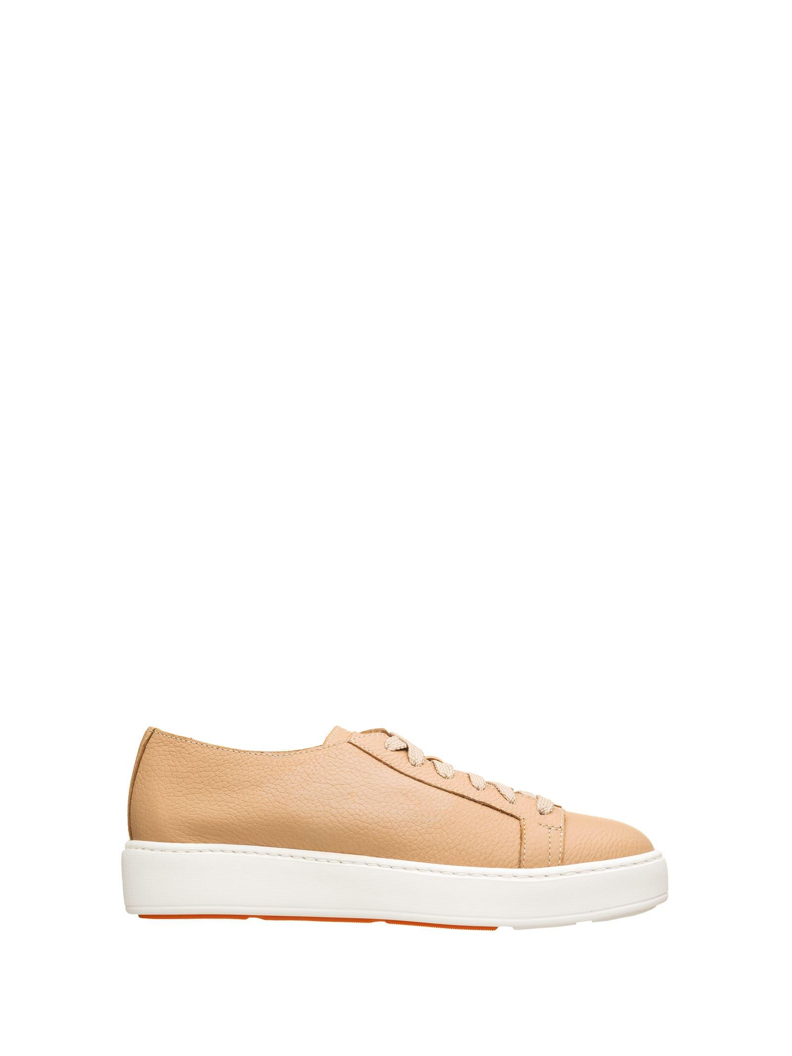 Santoni Santoni Beige Leather Sneakers