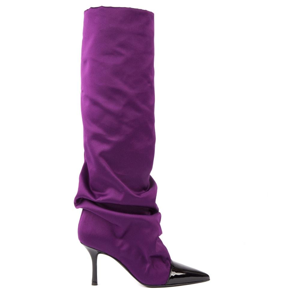 Violet Satin Boots