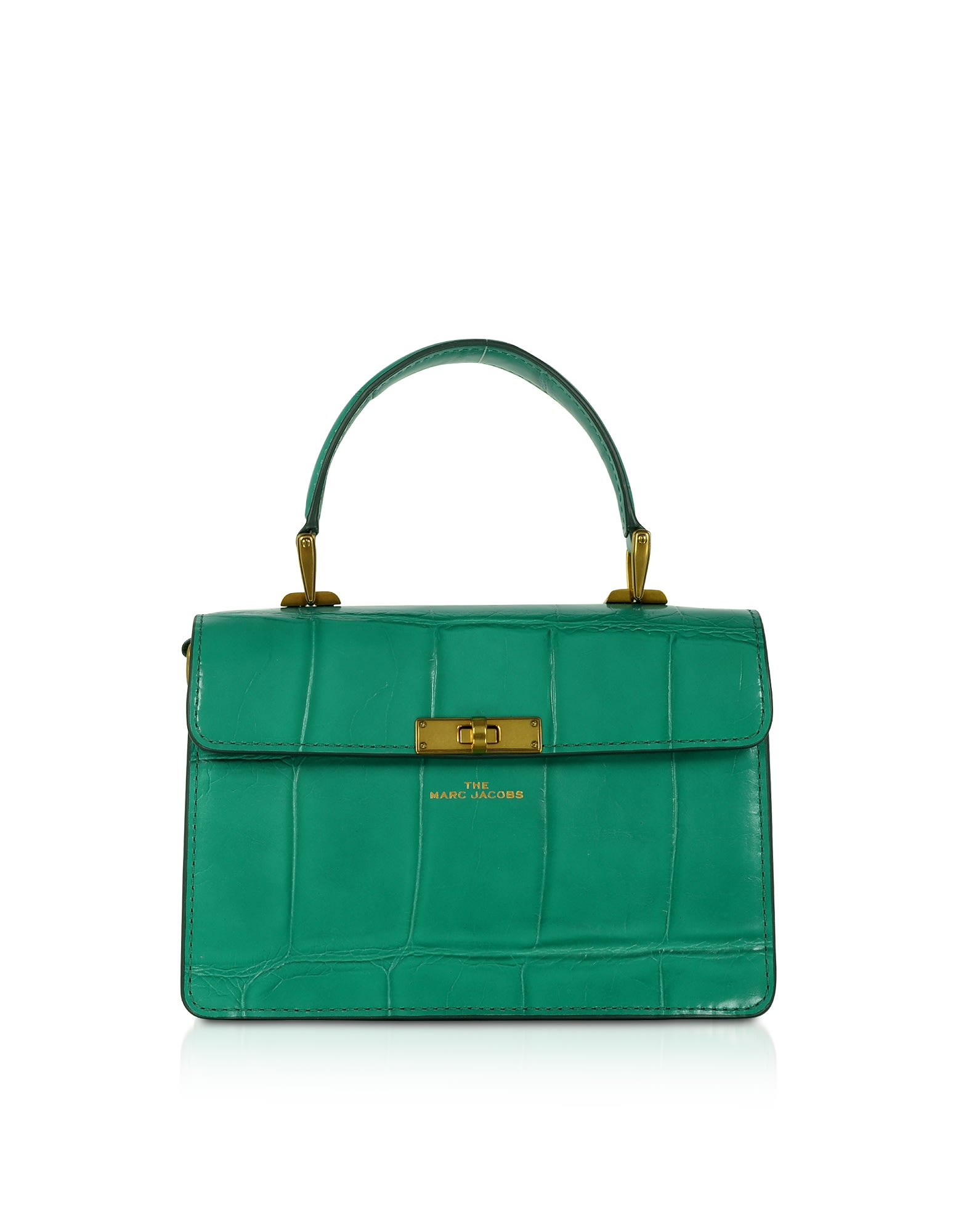 Marc Jacobs THE DOWNTOWN CROC EMBOSSED GREEN COW LEATHER HANDLE BAG