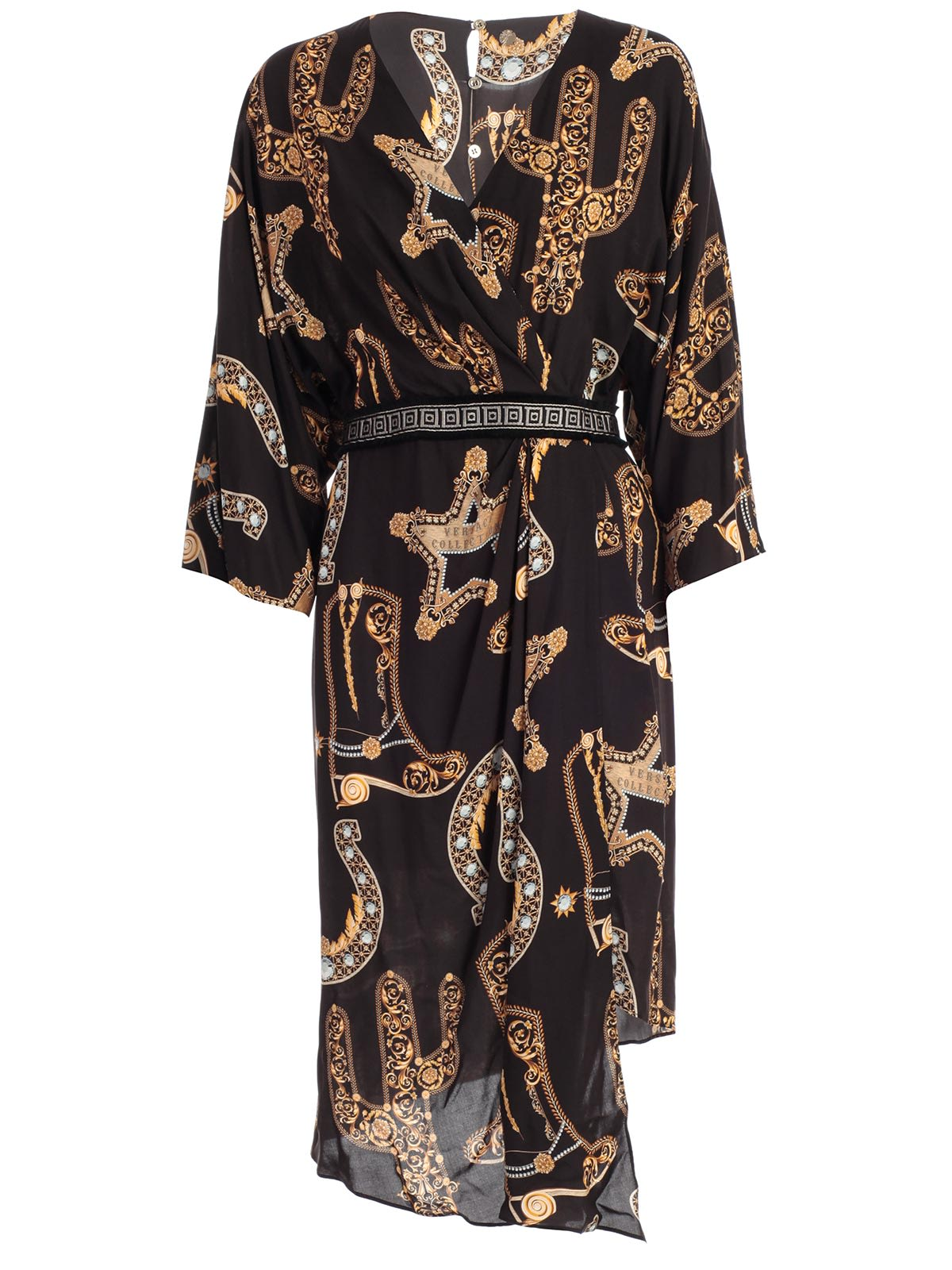 Versace Collection Dress L & s V Neck Asymmetric Baroque Printing
