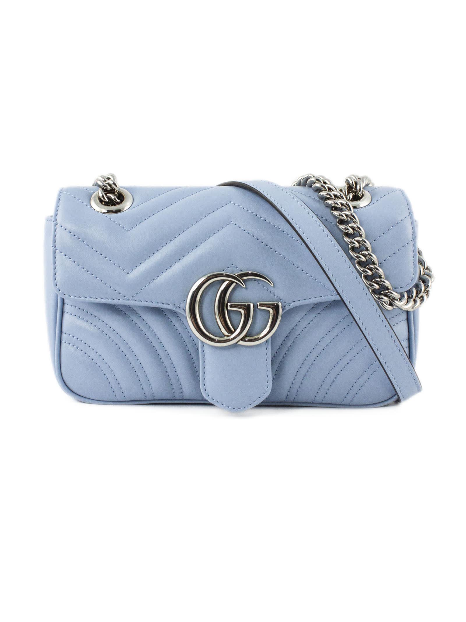 Gucci Gg Marmont Pastel Blue Mini Bag