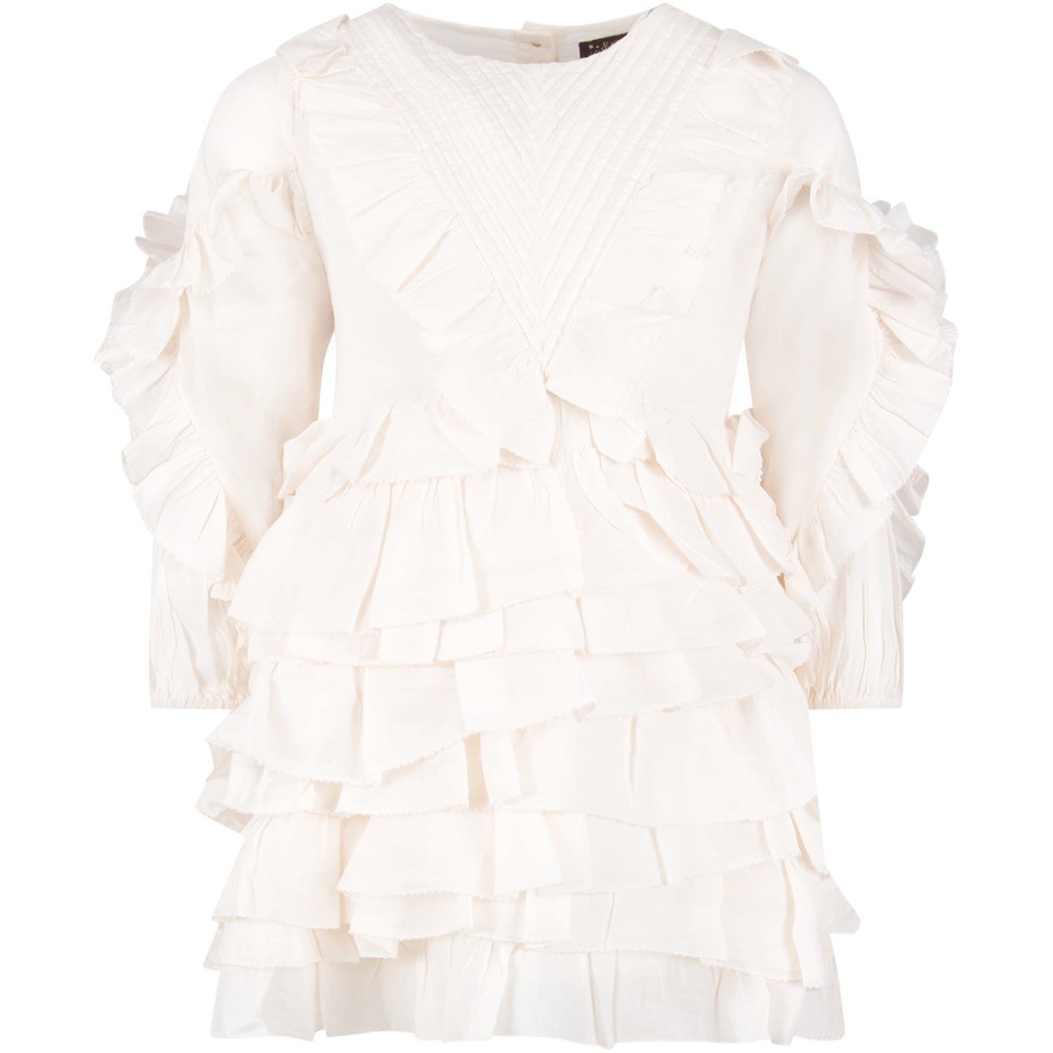 Velveteen White winona Girl Dress With Ruffles
