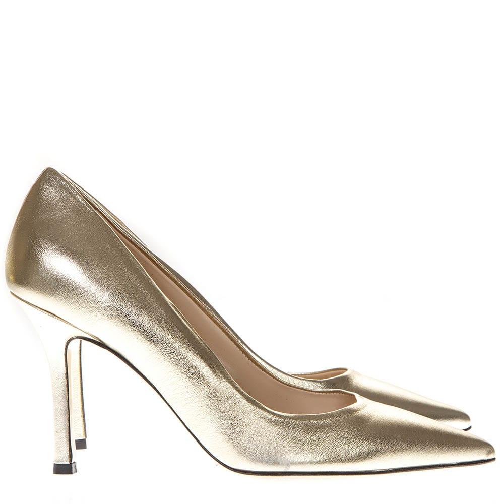 Laminate Gold Leather Pumps