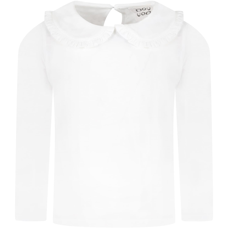 White T-shirt For Girl With Black Logo