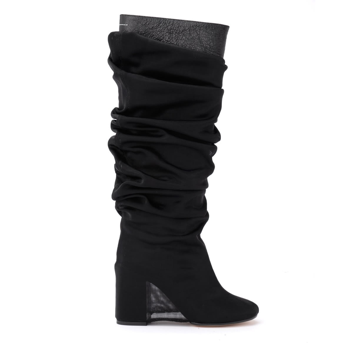 Mm6 Maison Margiela Boot In Black Leather With Sheer Covering