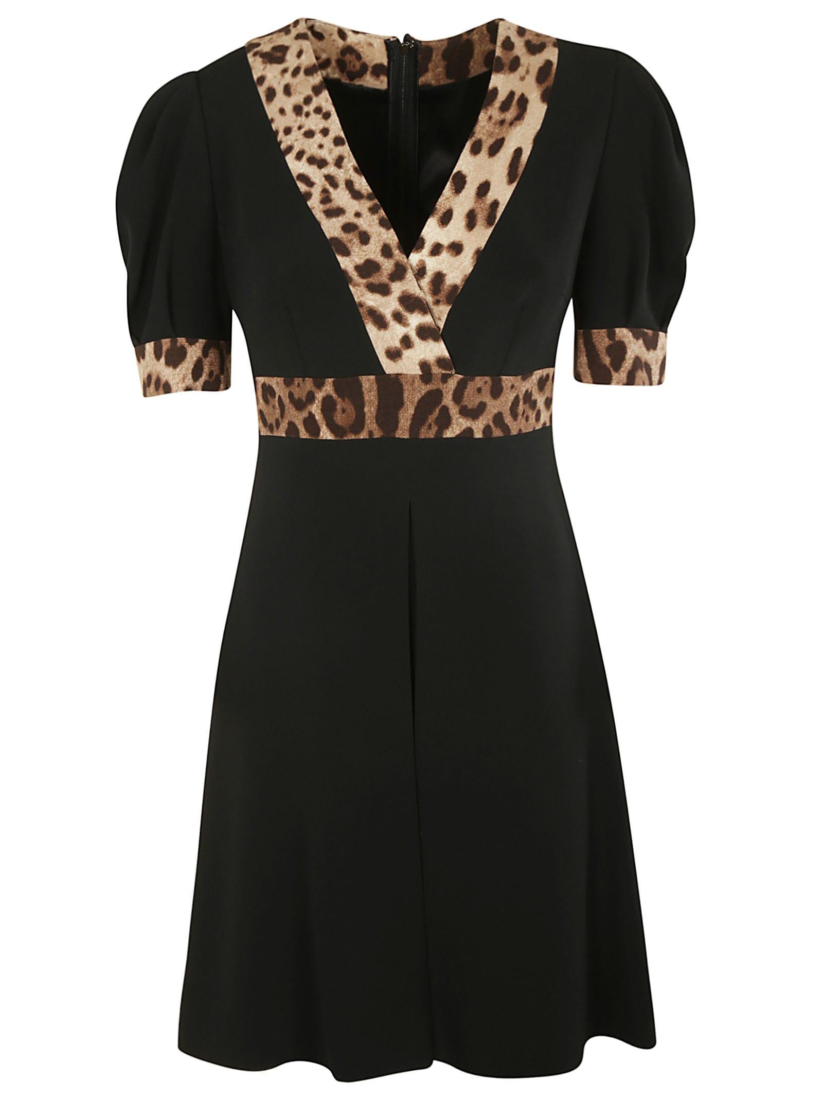 Dolce & Gabbana Leopard Print V-neck Dress