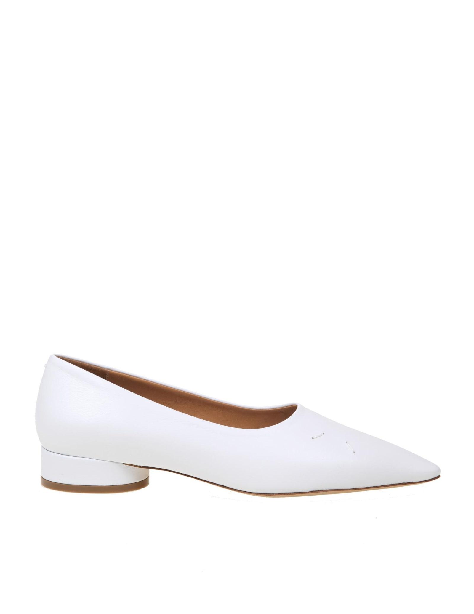 Buy Maison Margiela Kiki Ballerina In White Leather online, shop Maison Margiela shoes with free shipping