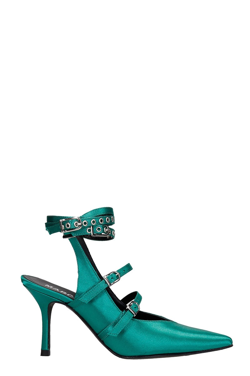 Pumps In Green Satin
