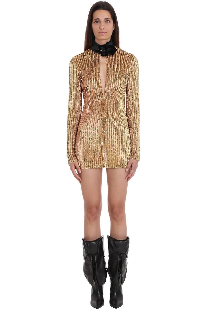 The Attico Dress In Gold Viscose