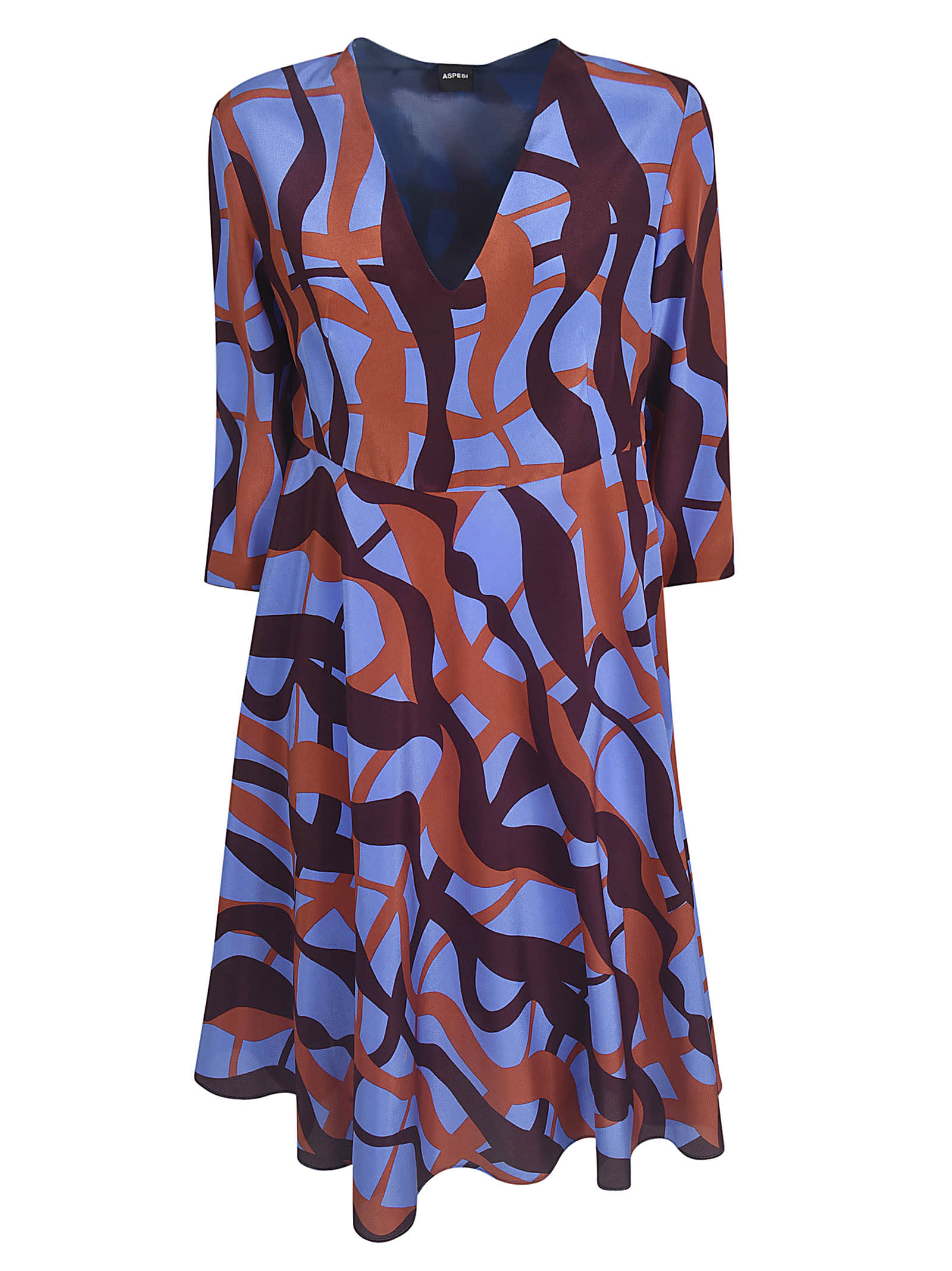 Buy Aspesi All-over Printed V-neck Dress online, shop Aspesi with free shipping