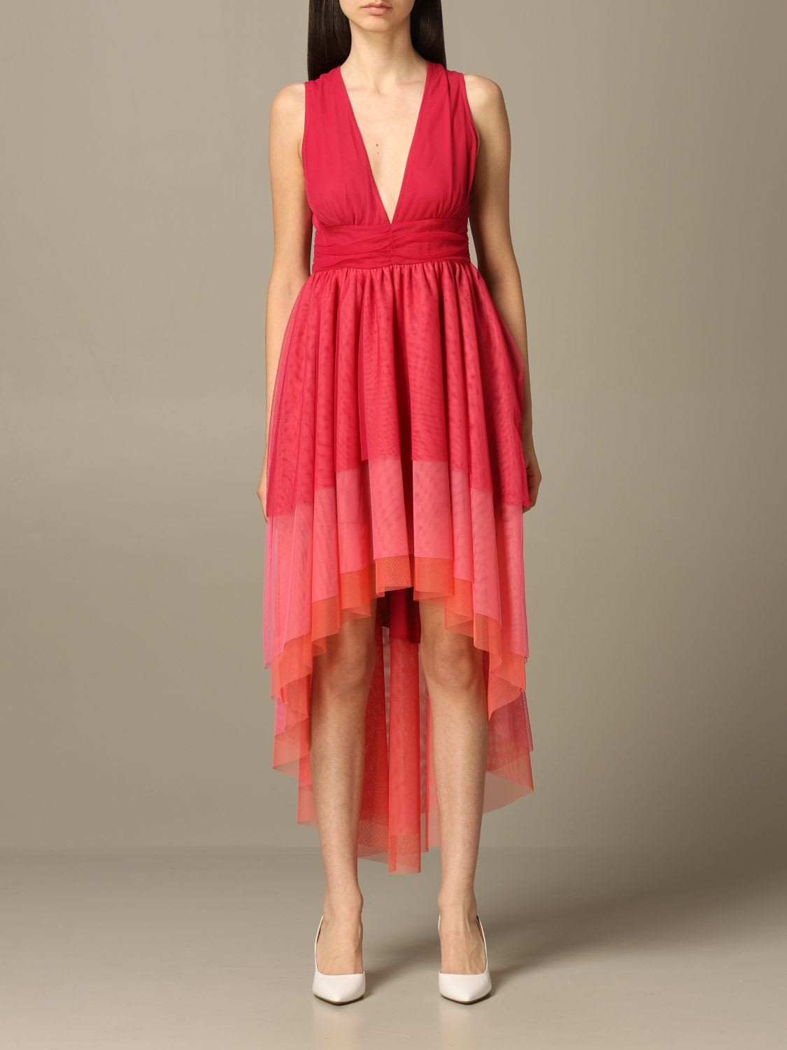 Be Blumarine Dress Be Blumarine V-shaped Dress In Flounced Tulle