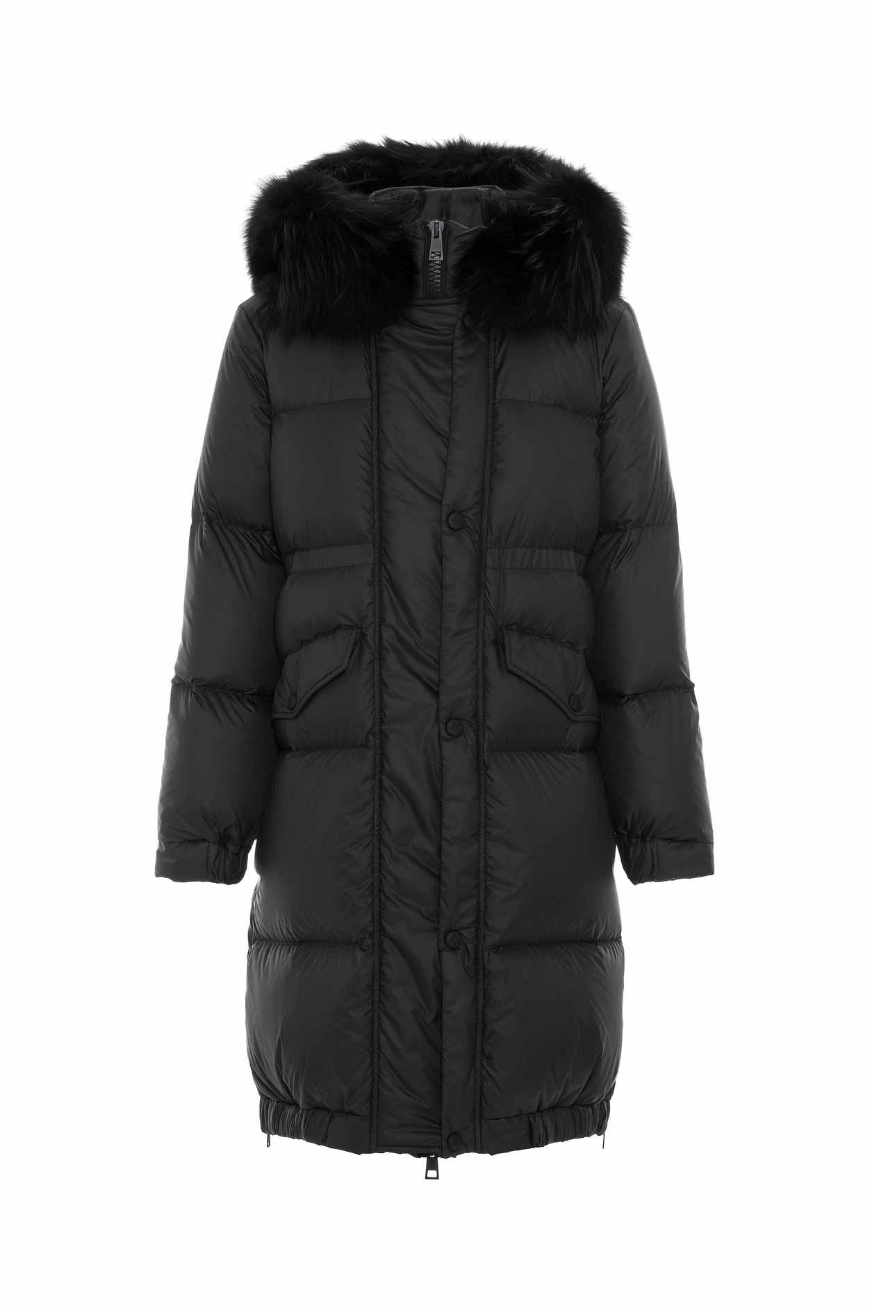 Mr & Mrs Italy Long Down Jacket For Woman With Fox Fur In Black / Black / Black