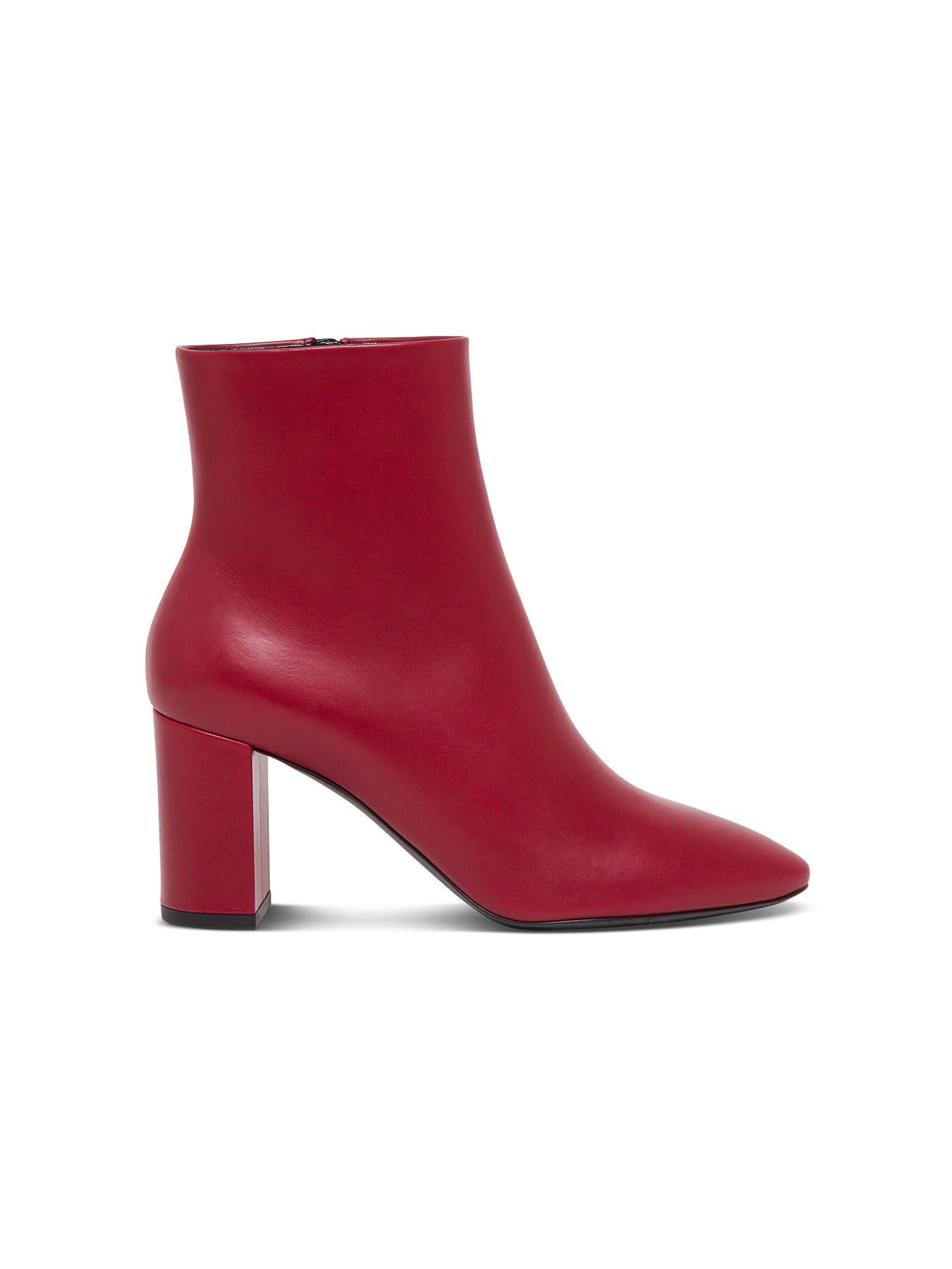 Buy Saint Laurent Lou 70 Leather Ankle Boots online, shop Saint Laurent shoes with free shipping