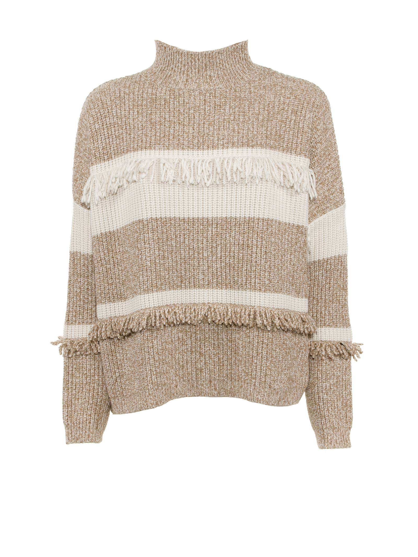 Sweater With White-beige Fringes