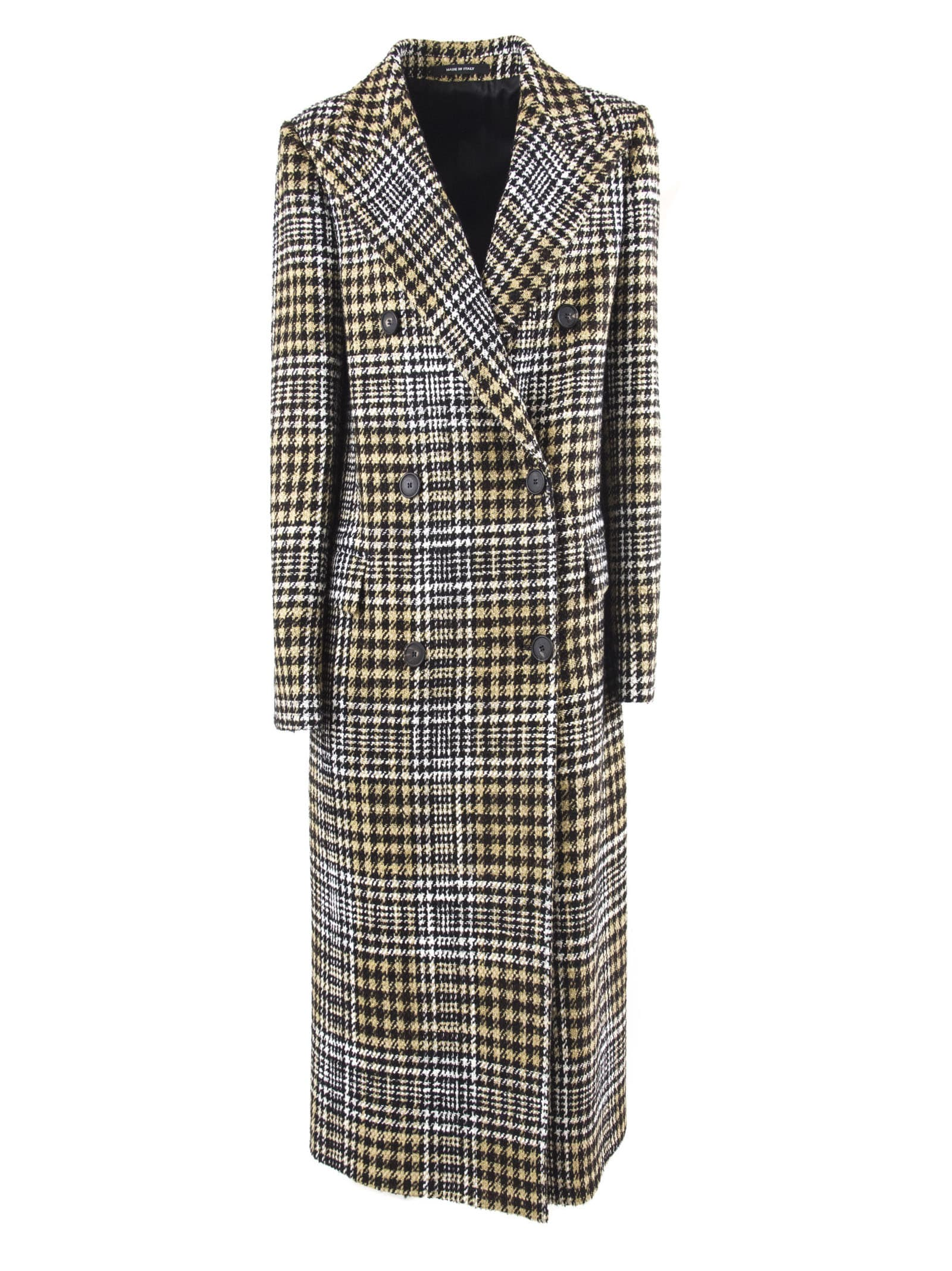 Tagliatore Long Coat In Check Cotton And Wool