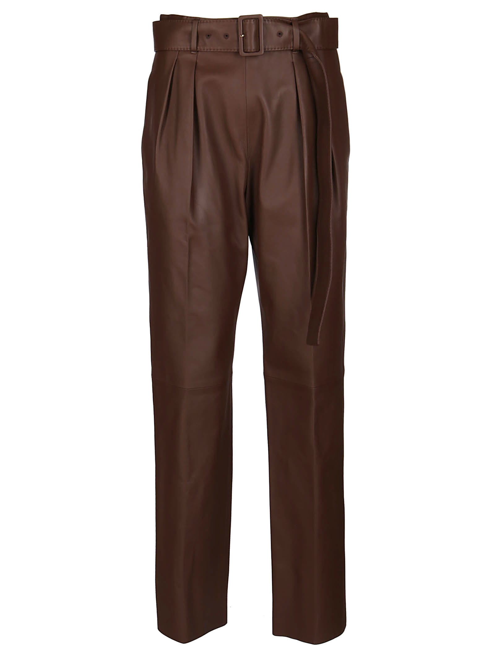 Agnona BROWN LEATHER TROUSERS