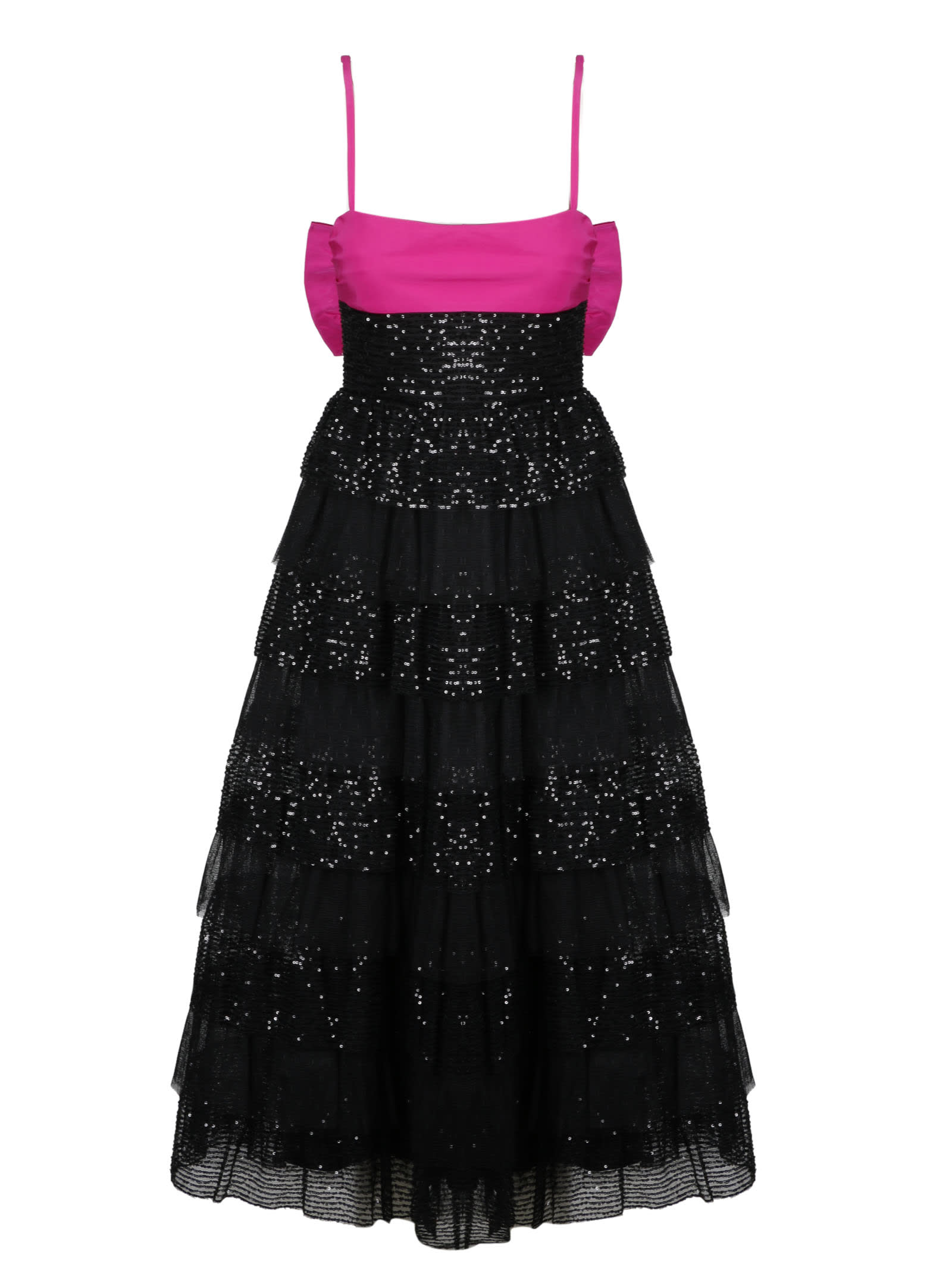 RED Valentino Flounces Long Dress With Bow