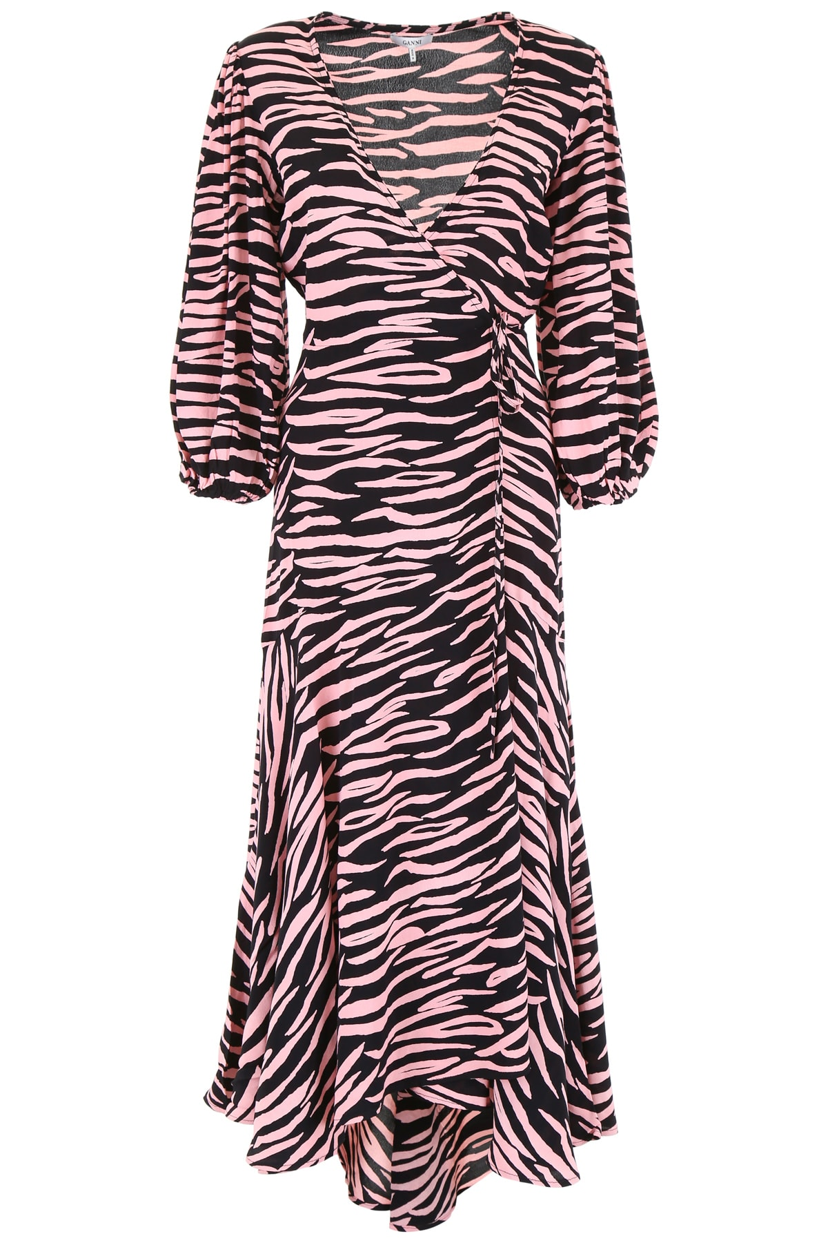 Ganni Zebra Wrap Dress