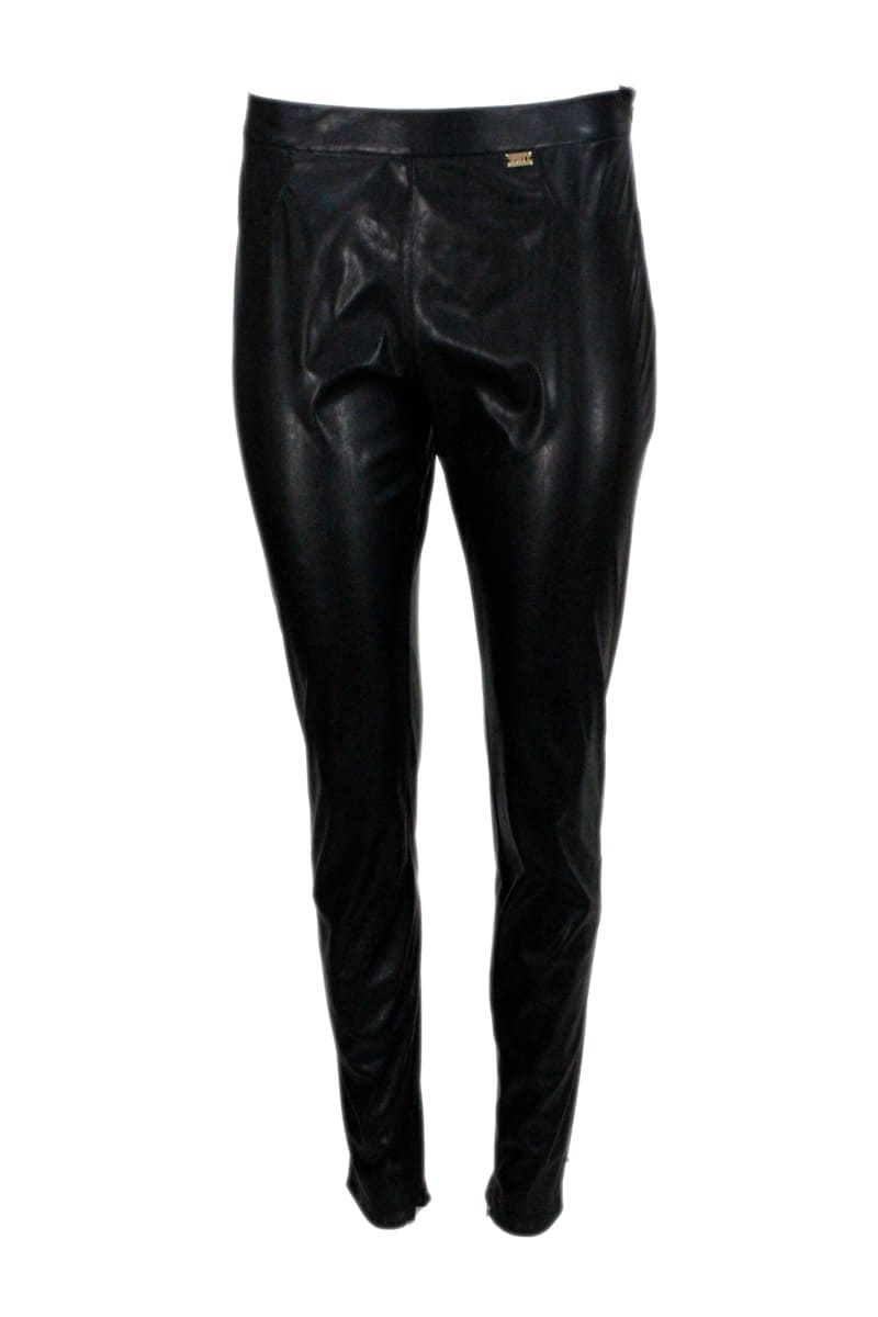 Trousers With Side Zip In Faux Leather With Zip At The Bottom