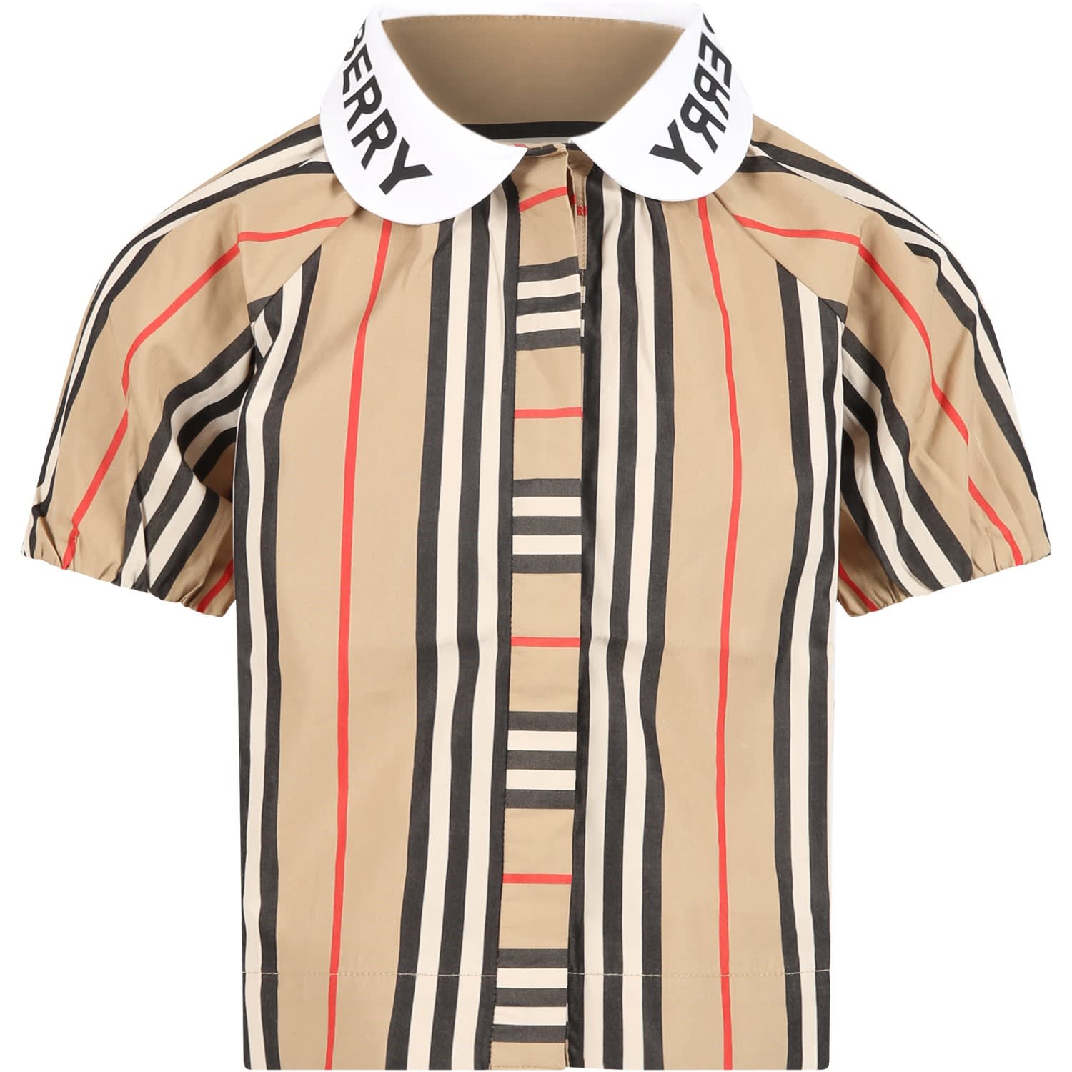 Burberry Kids' Beige Shirt For Girl With Logos