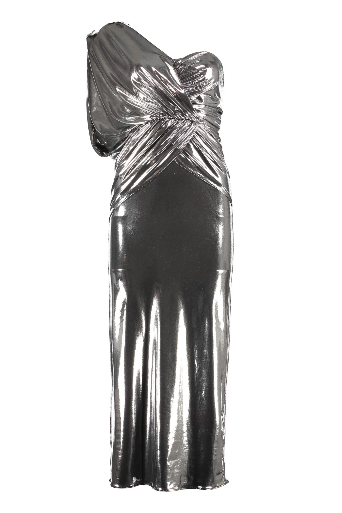 The Attico Lamé Jersey One-shoulder Dress