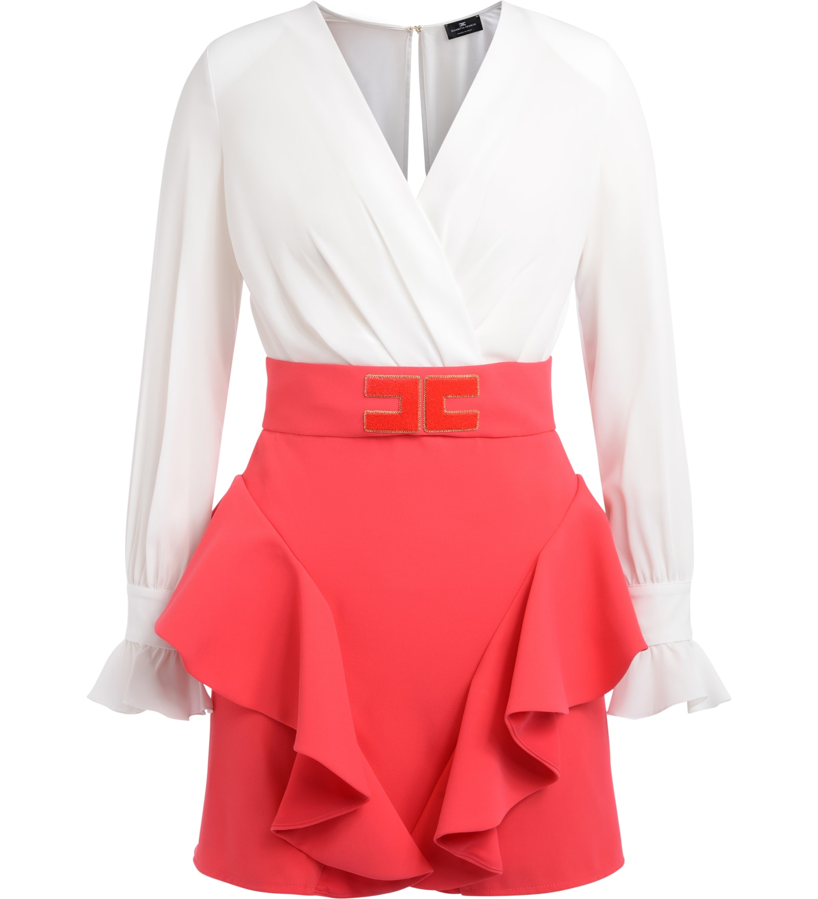 Elisabetta Franchi Ivory And Coral Dress With Side Ruffles