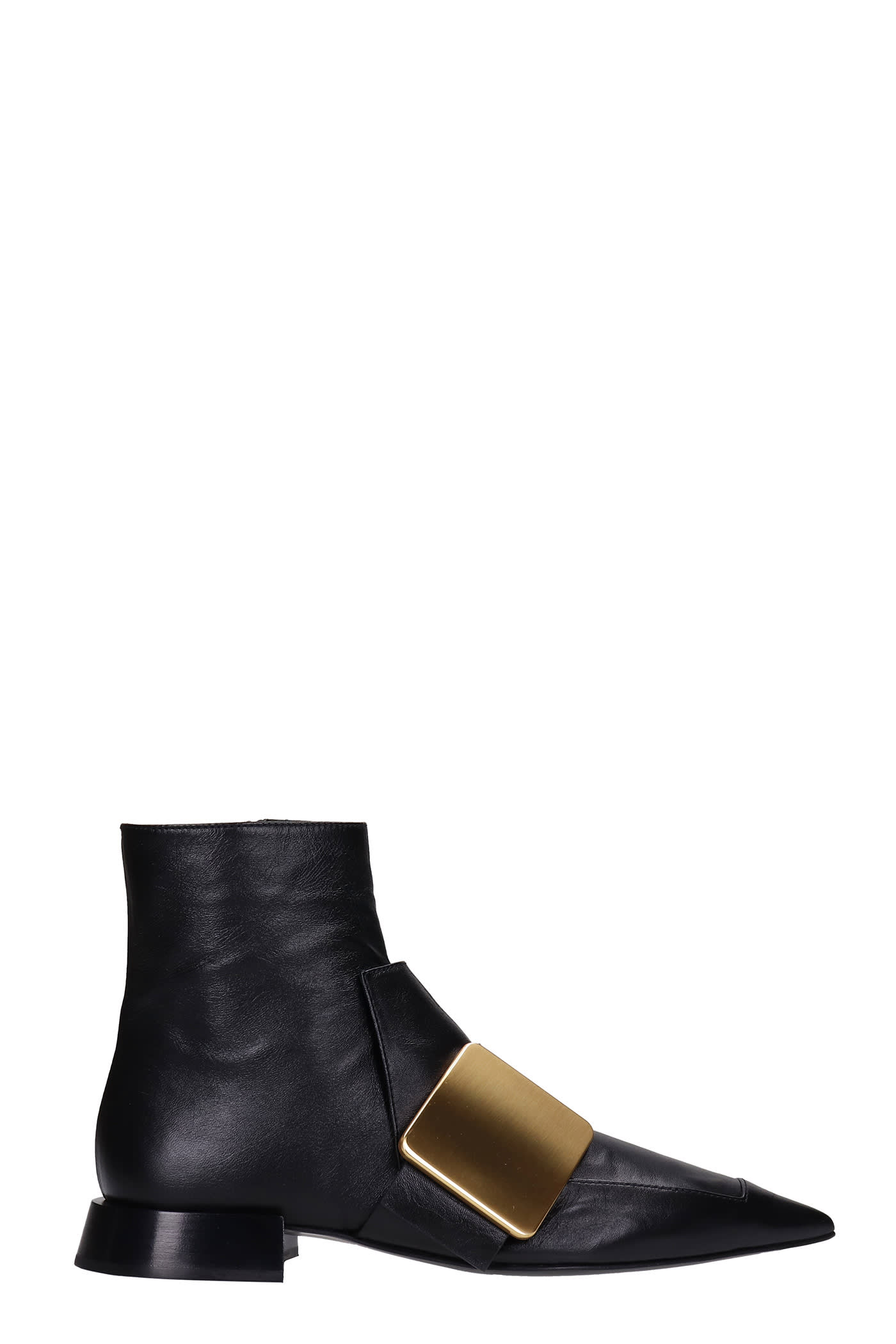 Buy Jil Sander Low Heels Ankle Boots In Black Leather online, shop Jil Sander shoes with free shipping