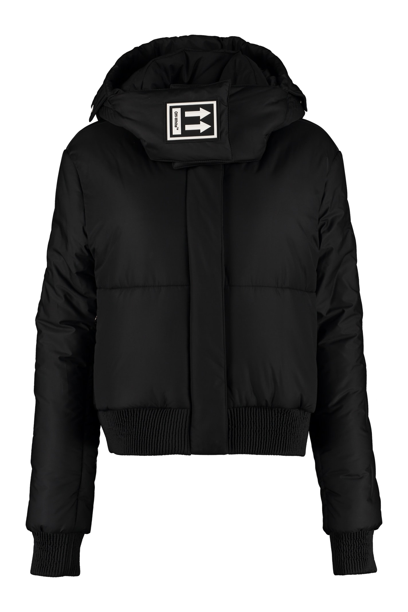 Off-White Down Jacket With Detachable Hood