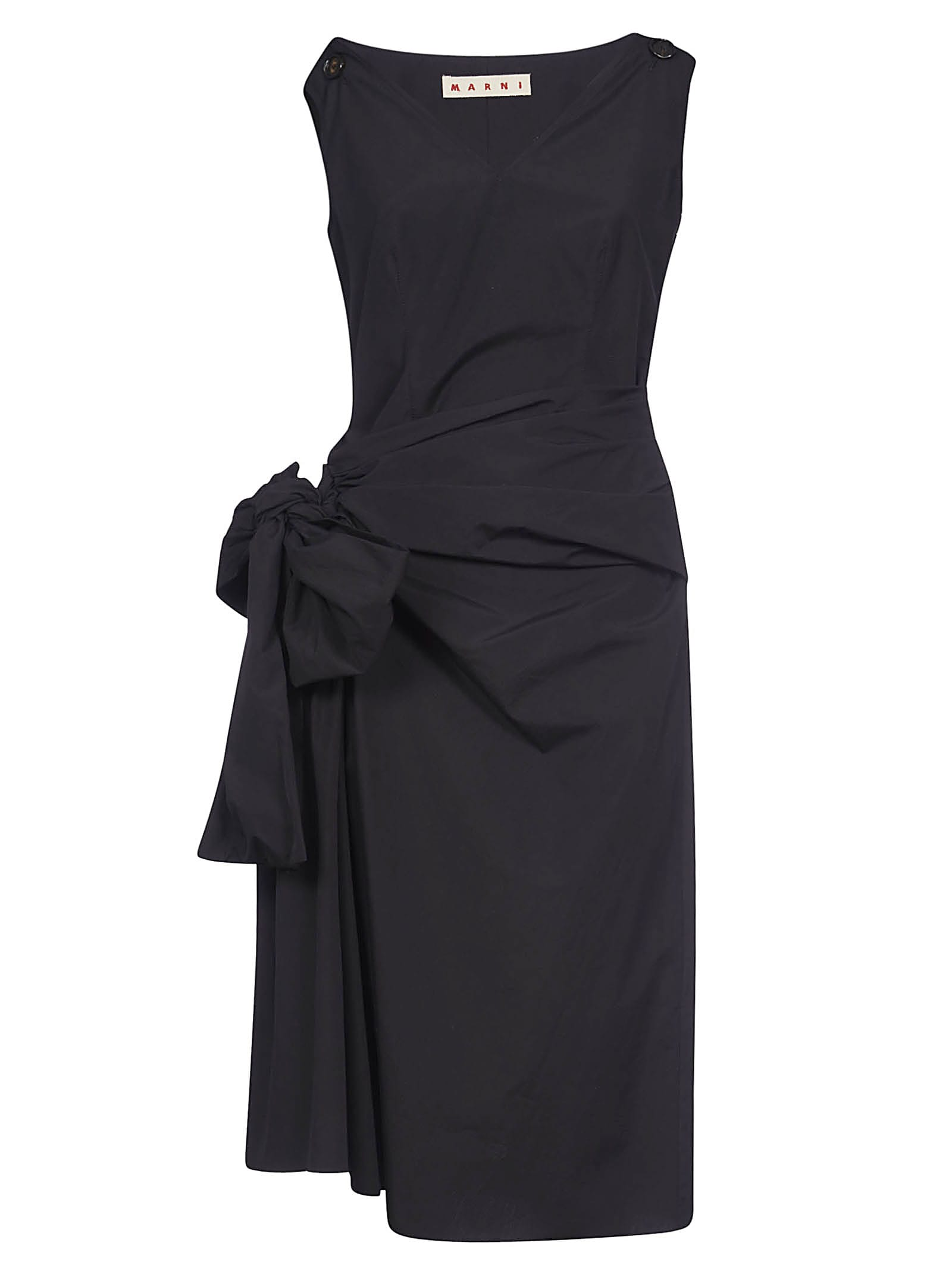 Buy Marni Sleeveless V-neck Gathered Dress online, shop Marni with free shipping