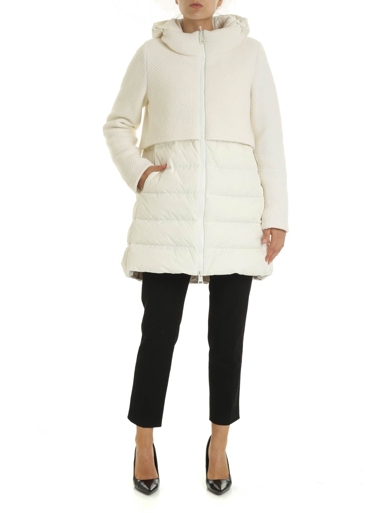 Herno – Long Down Jacket With Wool Insert