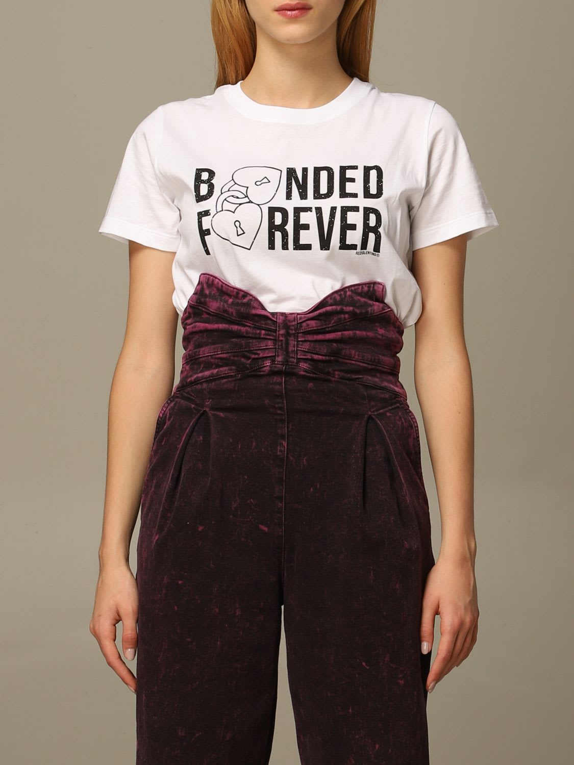 Red Valentino T-shirt Red Valentino Cotton T-shirt With Bonded Forever Print