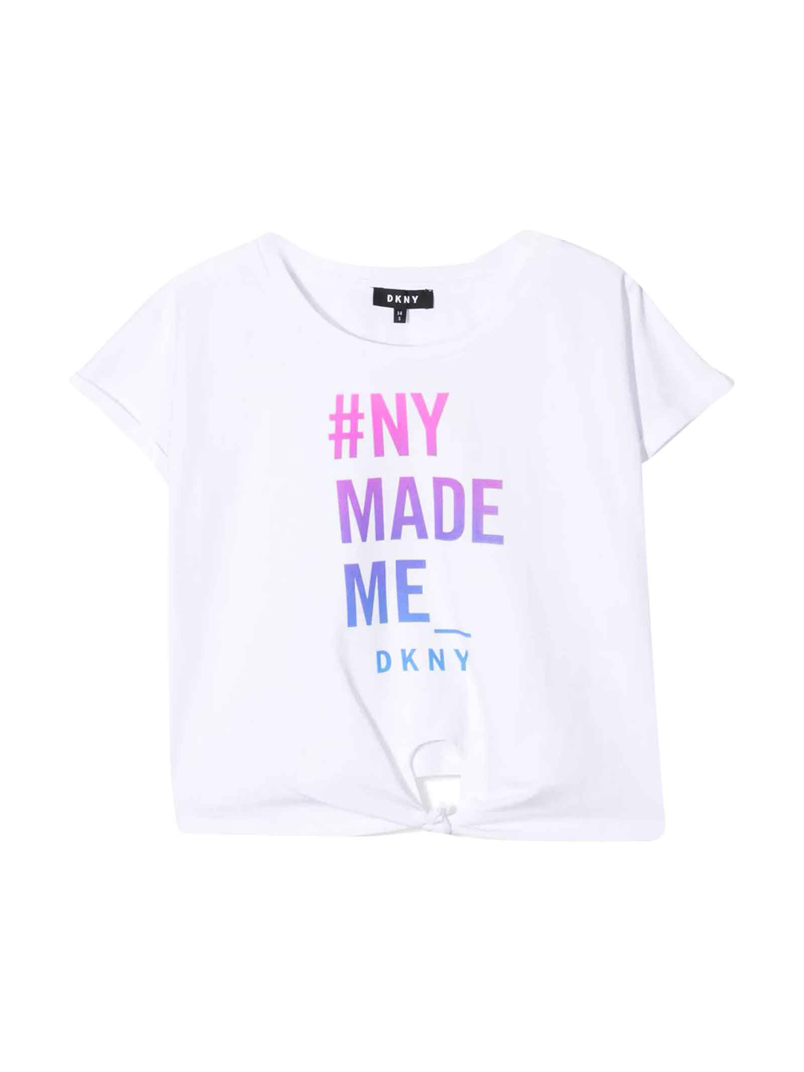Dkny Cottons WHITE TEEN T-SHIRT WITH PRESS