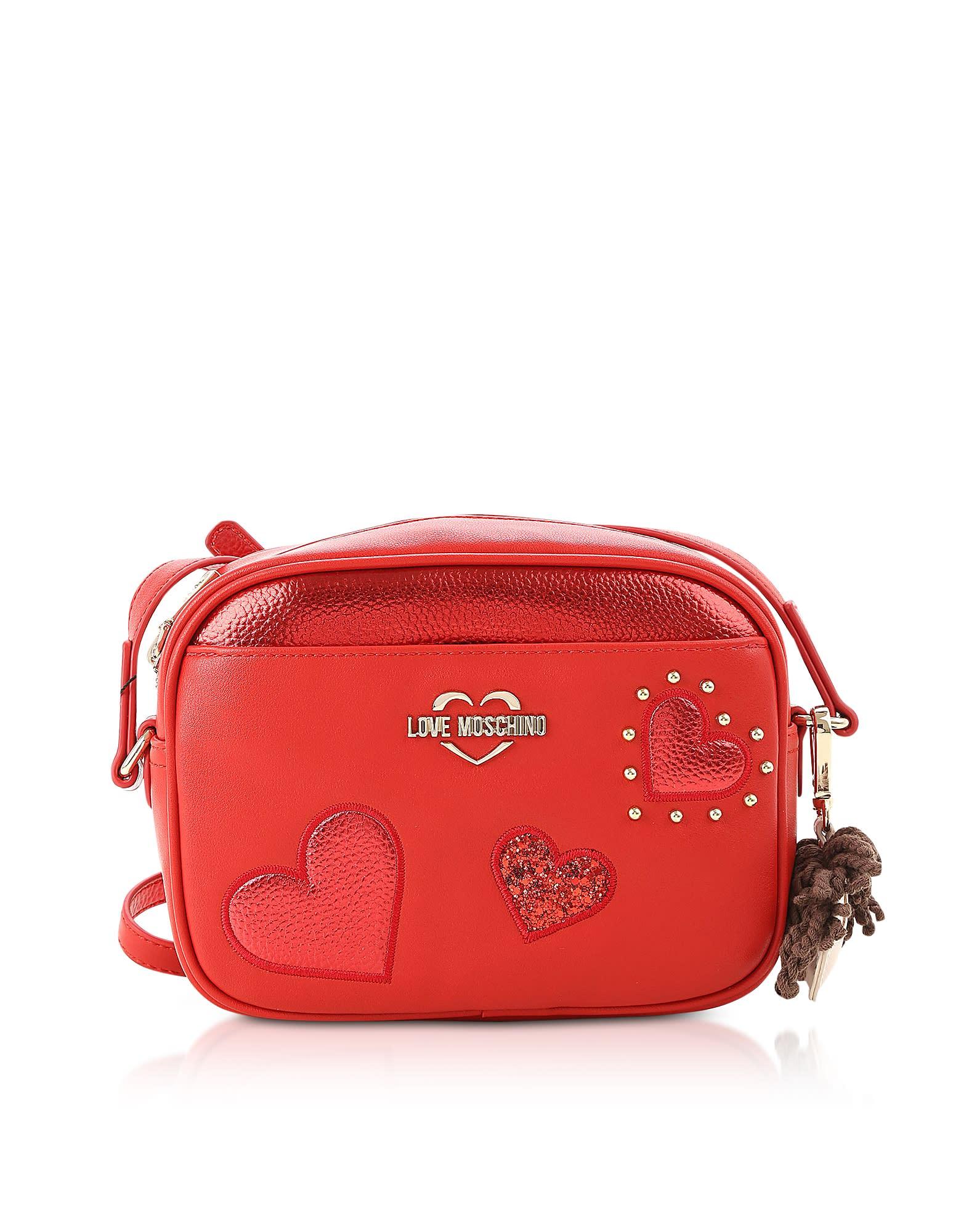 Love Moschino METALLIC RED GRAINY ECO-LEATHER CAMERA BAG