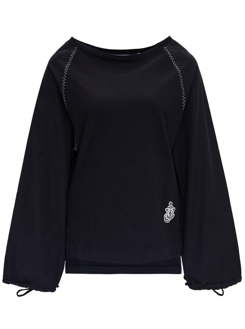 Moncler Genius T-shirts BLACK COTTON BLOUSE BY JW ANDERSON
