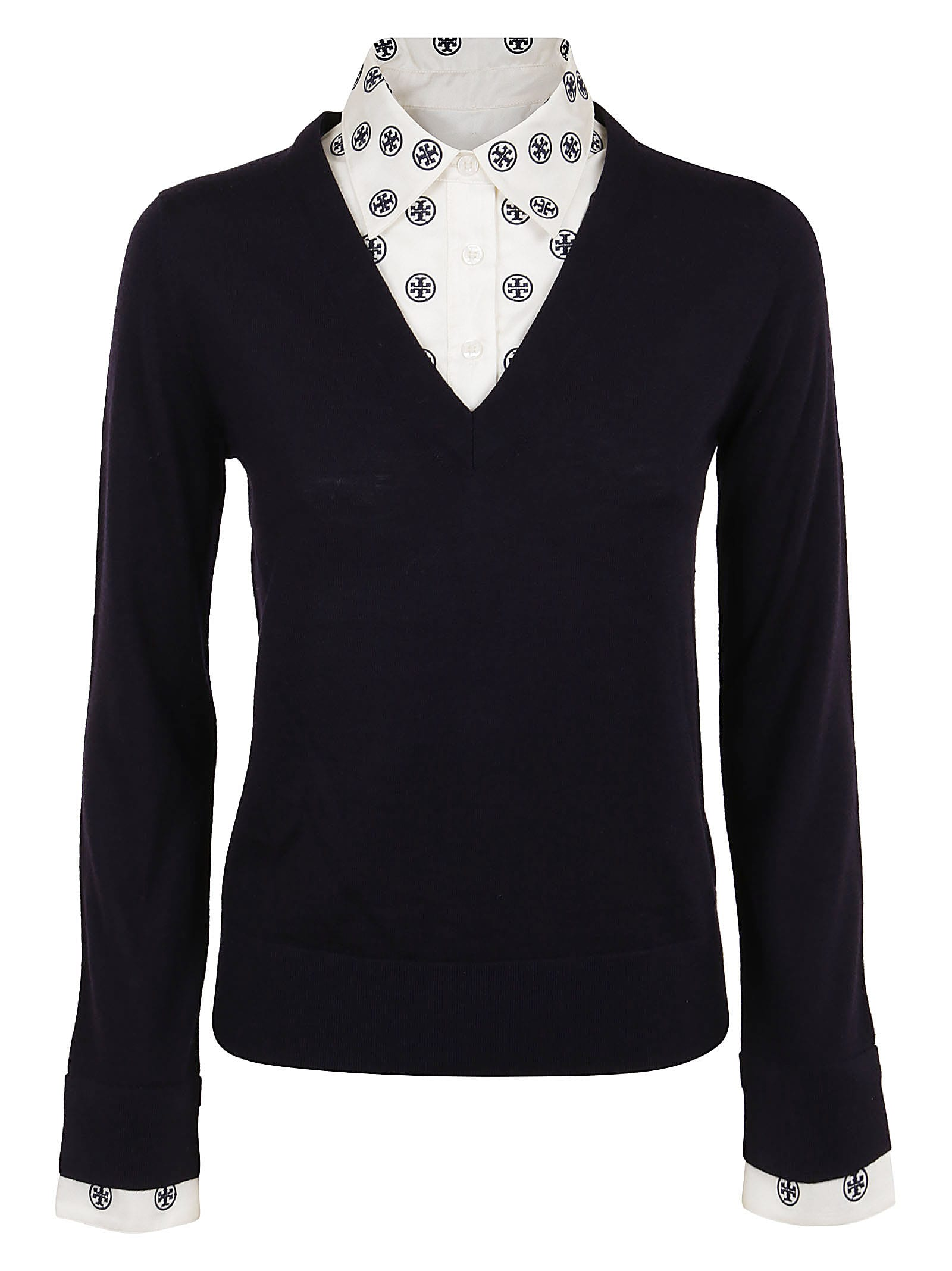 Tory Burch Downs DICKIE V-NECK SWEATER