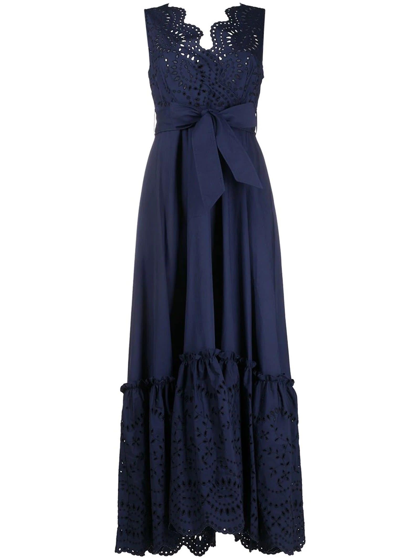 Buy Parosh D724089 Blue Cotton Cosan Broderie Anglais Dress online, shop Parosh with free shipping
