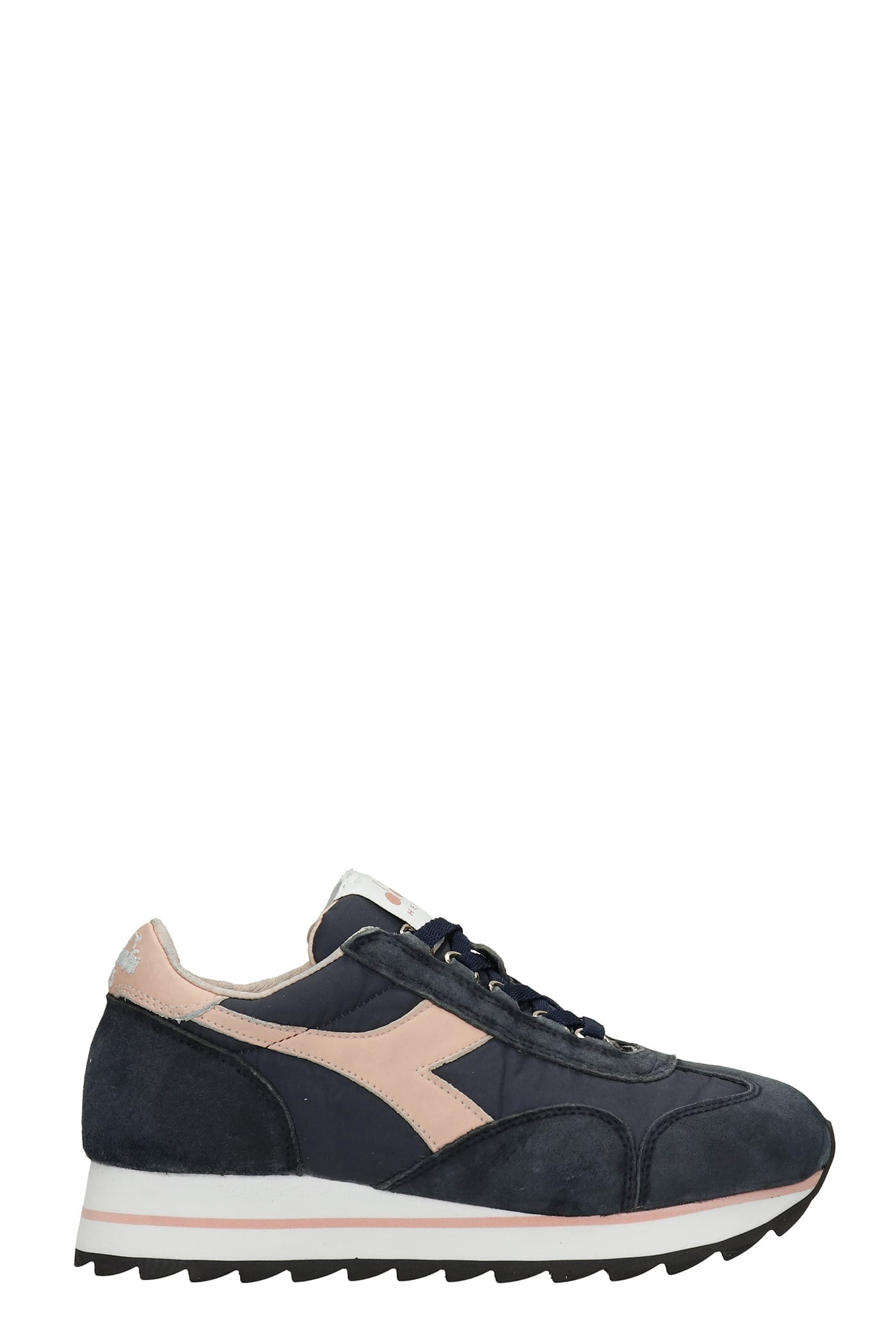 Equipe Sneakers In Blue Suede And Fabric