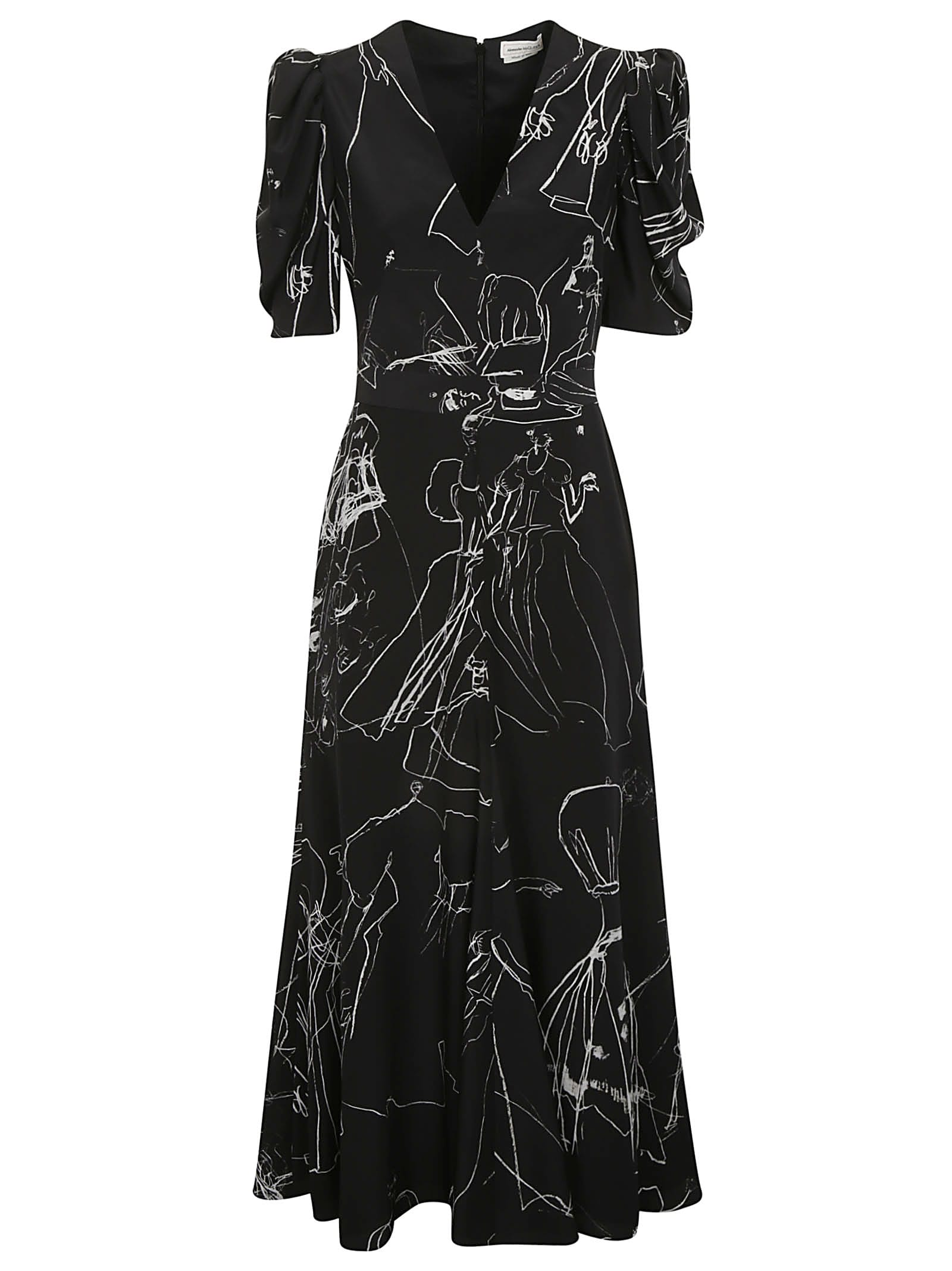 Buy Alexander McQueen Rear-zip Printed Maxi Dress online, shop Alexander McQueen with free shipping
