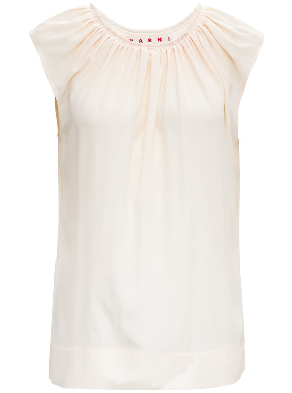 Marni IVORY COLORED TANK TOP IN SILK BLEND